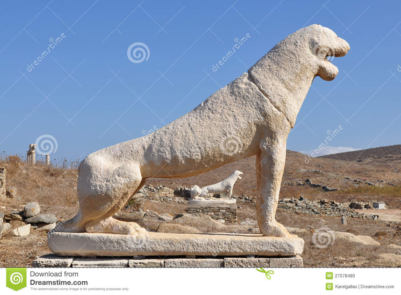 The Terrace Of The Lions On Delos Island In Greece Stock ...