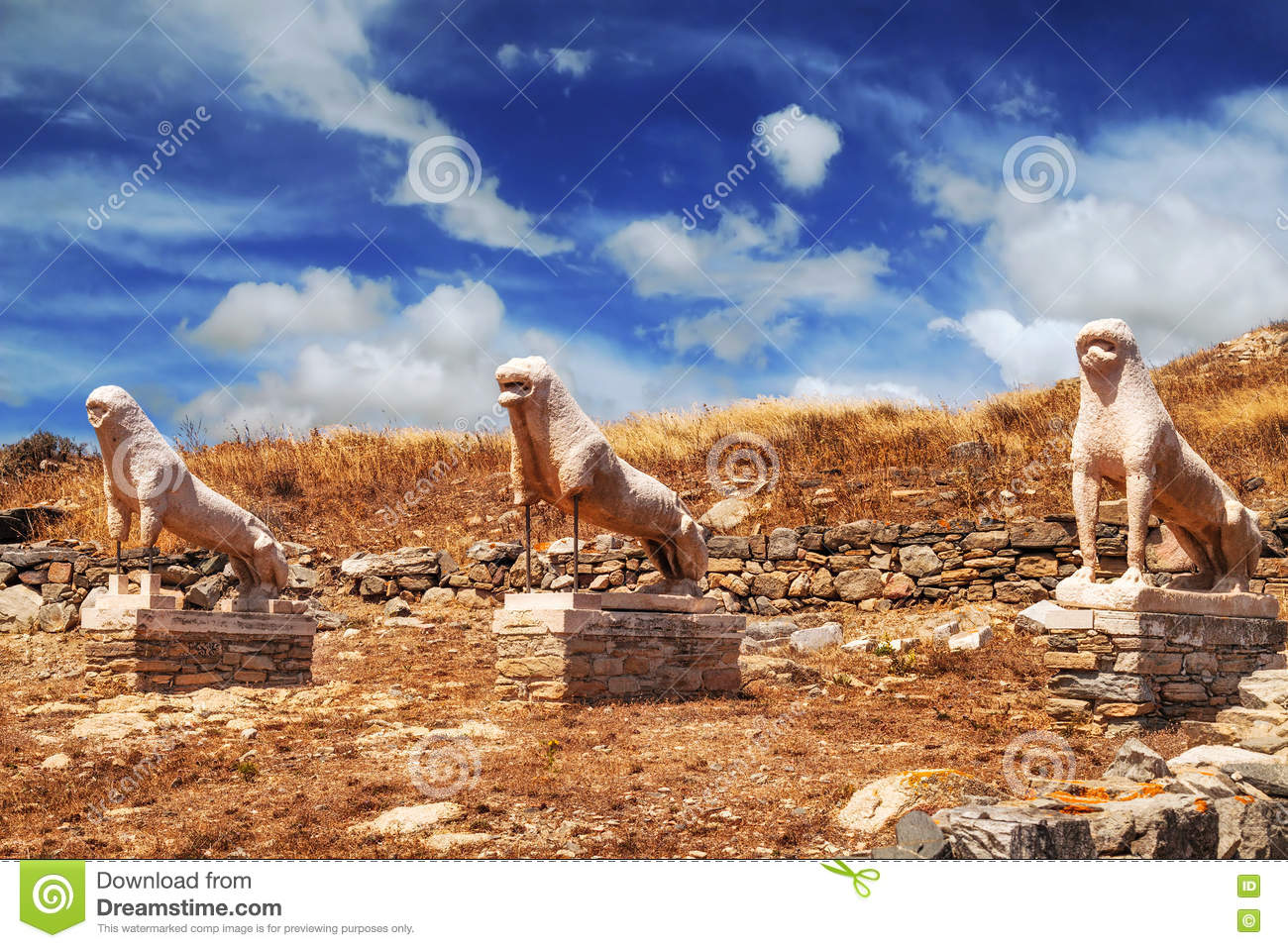 The Terrace Of The Lions On Delos Island Stock Photo ...