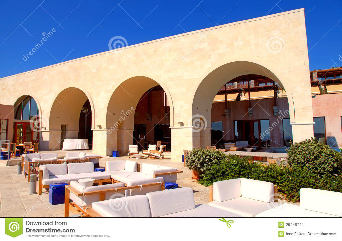 Superbe Download Terrace With Outdoor Lounge Furniture On Summer Resort (Greece)  Stock Photo   Image