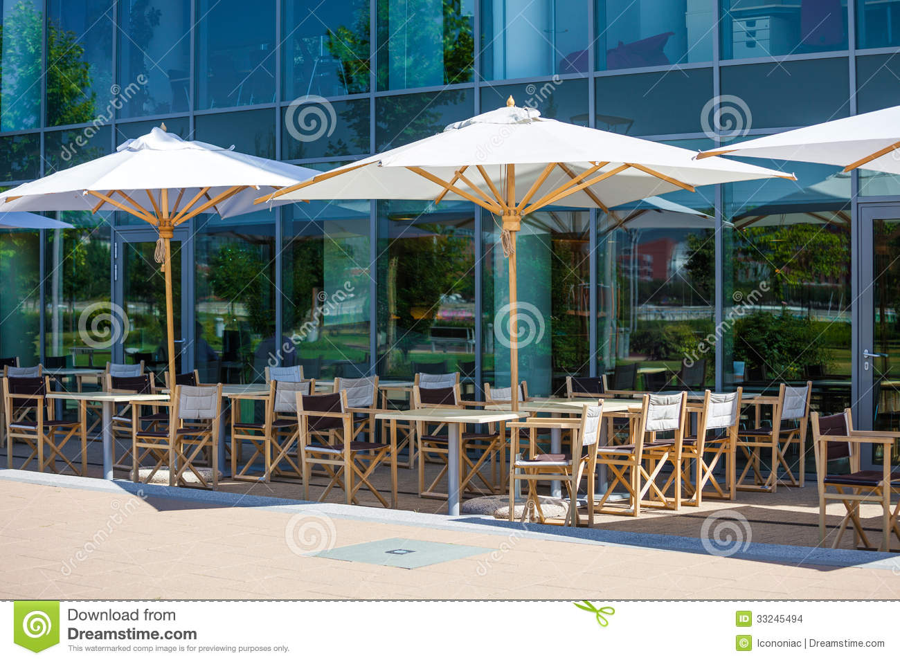 Terrace restaurant area with white umbrellas stock images for Restaurant with terrace
