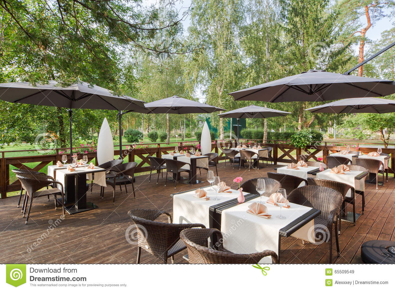 Terrace restaurant in the park with a table setting stock for Terrace bar grill