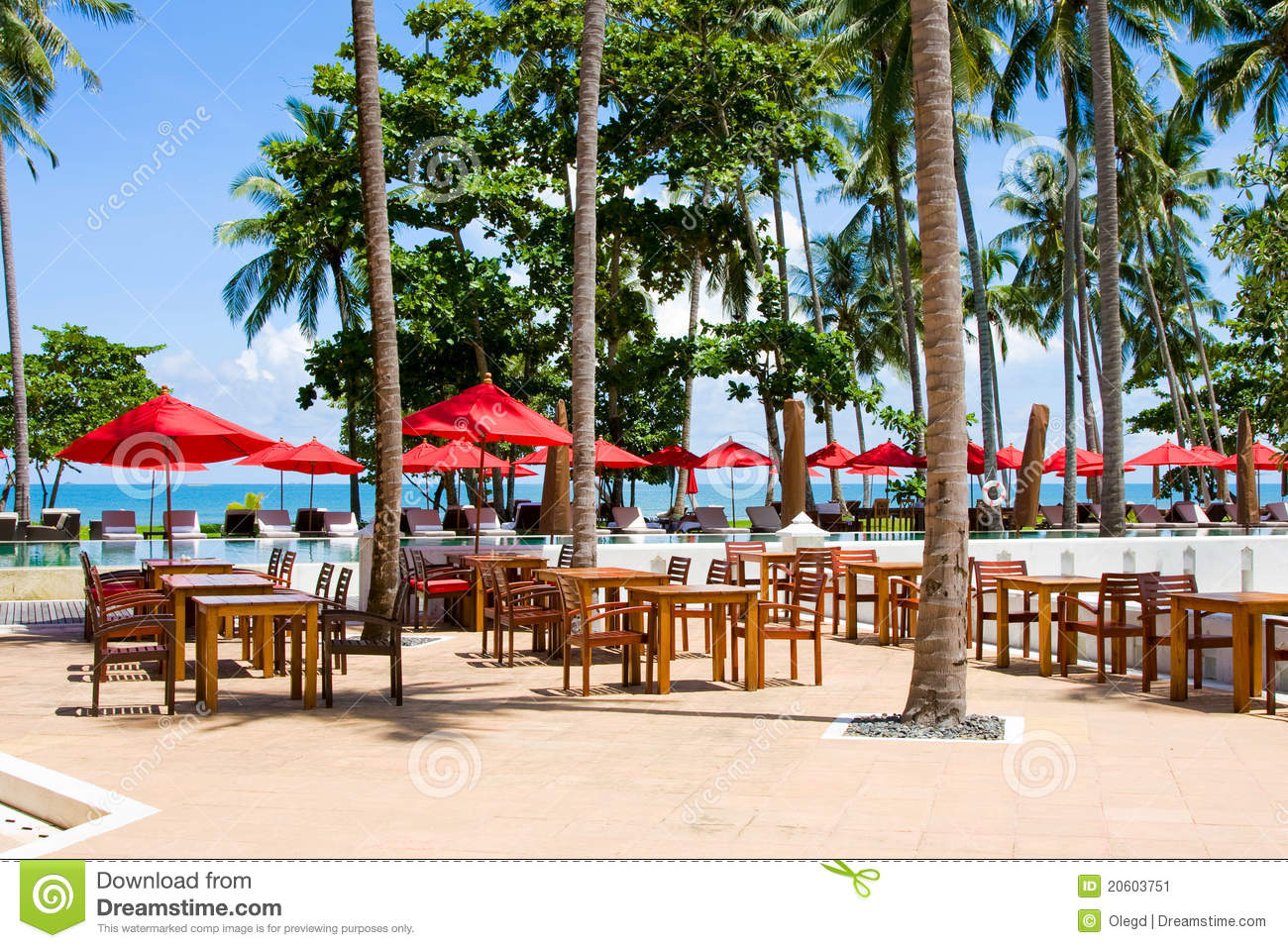 Terrace of a restaurant with red sun shades stock image for Restaurant with terrace