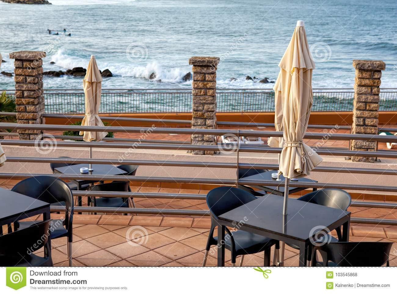 Terrace Of A Restaurant With Sun Shades On A Beautiful Beach Stock Photo Image Of Lagoon Chair 103545868