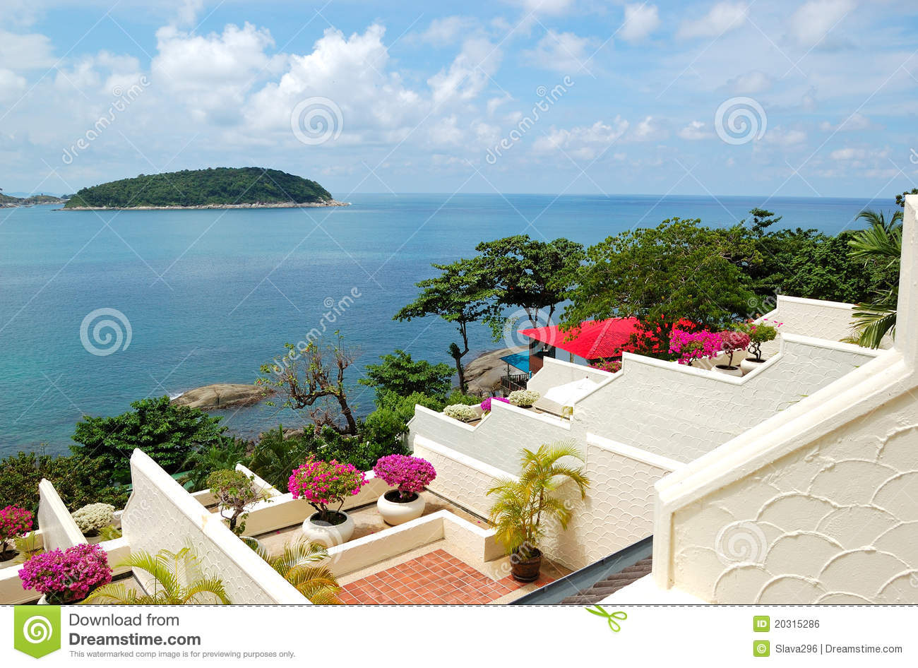 Terrace with sea view at luxury hotel stock photo image for What is a terrace