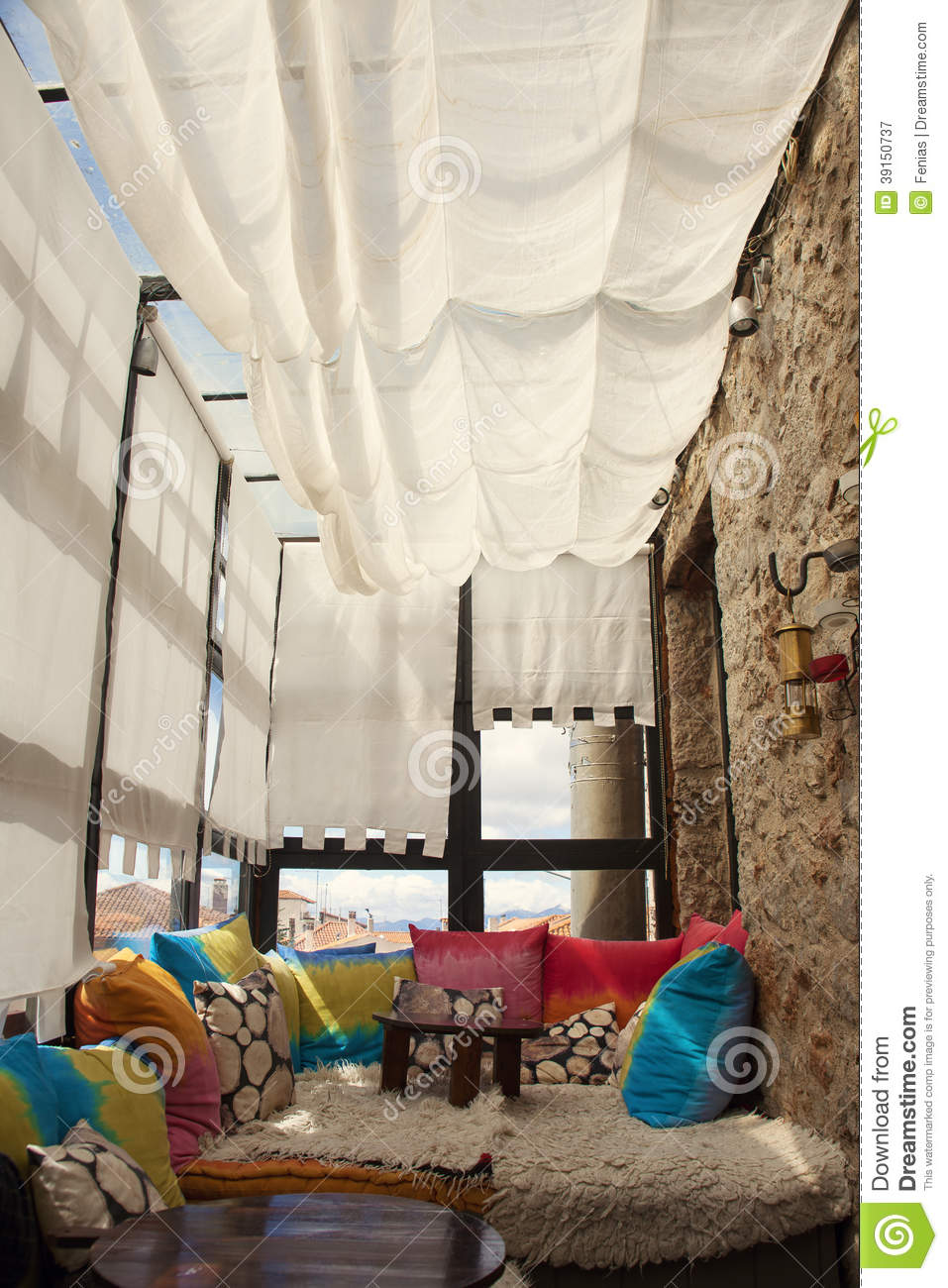 Terrace With Seats Stock Image Image Of Warm Coffe 39150737