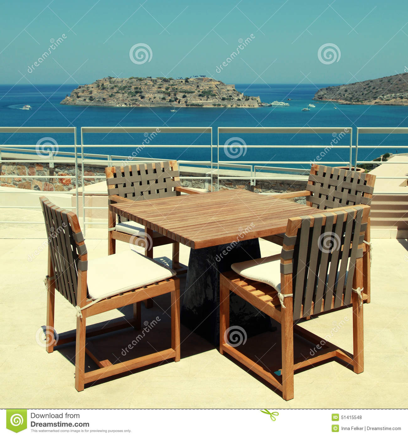 Terrace Seaview With Outdoor Furniture In A Luxury Resort(Crete, Royalty  Free Stock Photos