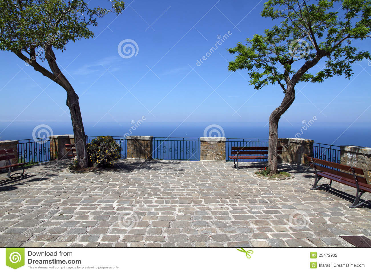 Terrace with trees and sea view stock photography image for Terrace trees