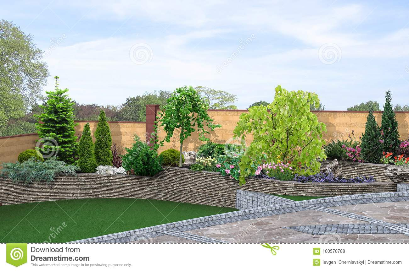 Terraced Backyard Landscaping And Green Background, 3d Render Stock
