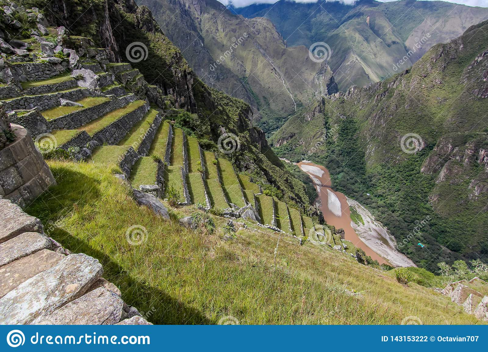 Terraces and river valey near Machu Picchu
