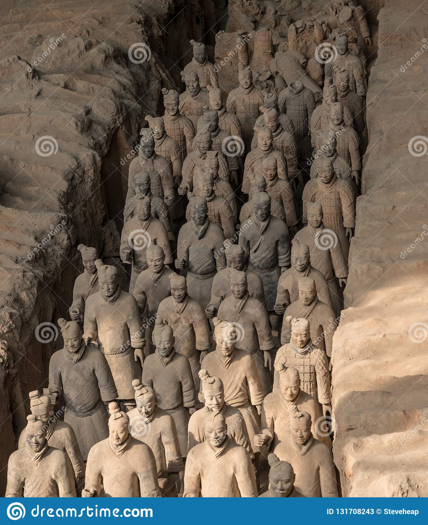 Terracotta Army warriors buried in Emperor tomb outside Xian China
