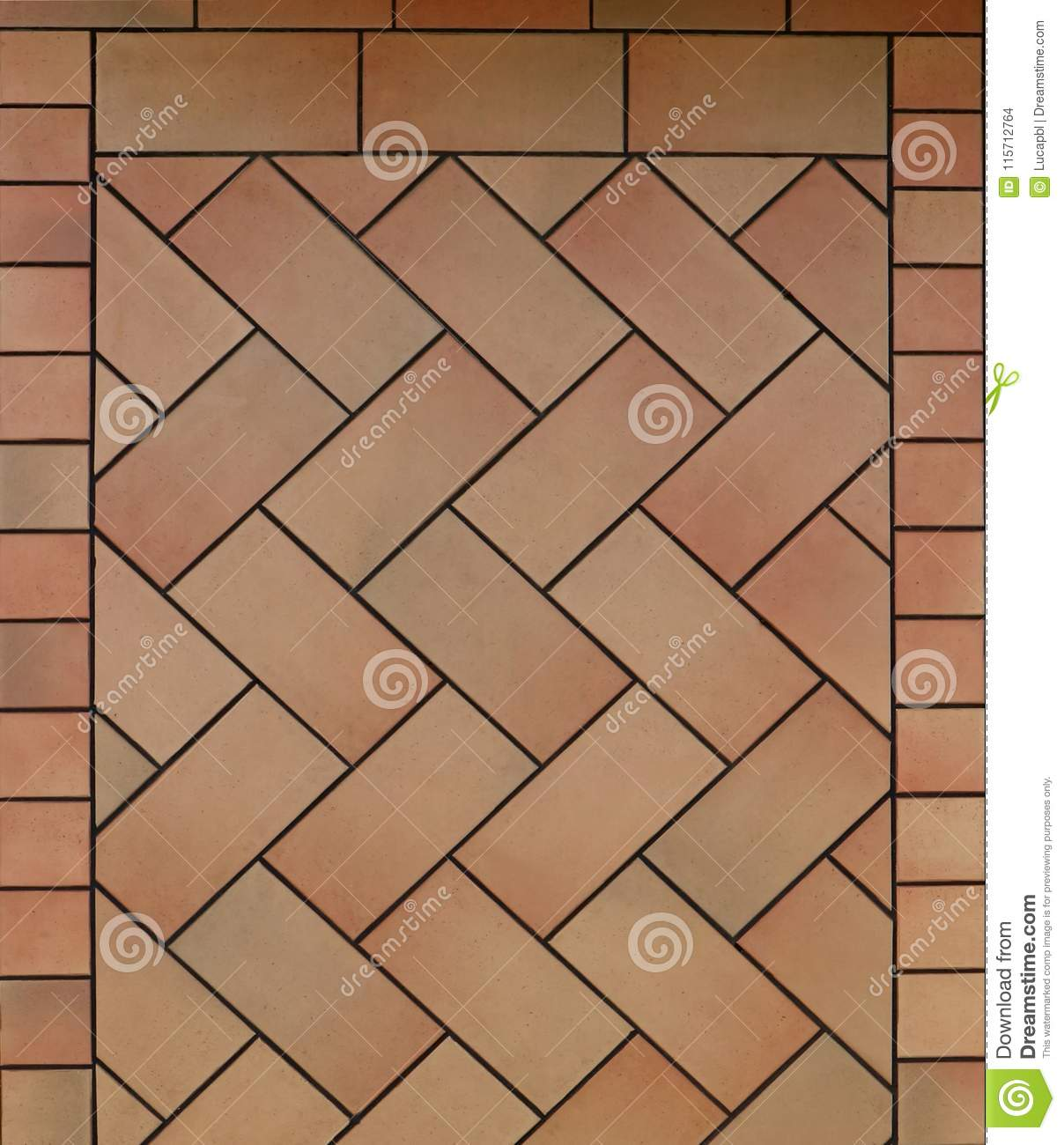 Terracotta Floor With Tiles Arranged With Different Patterns