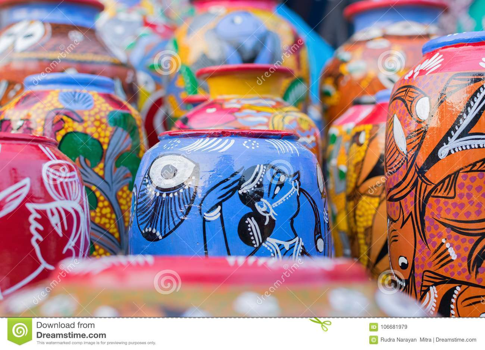 Terracotta Pots Indian Handicrafts Fair At Kolkata Stock Image