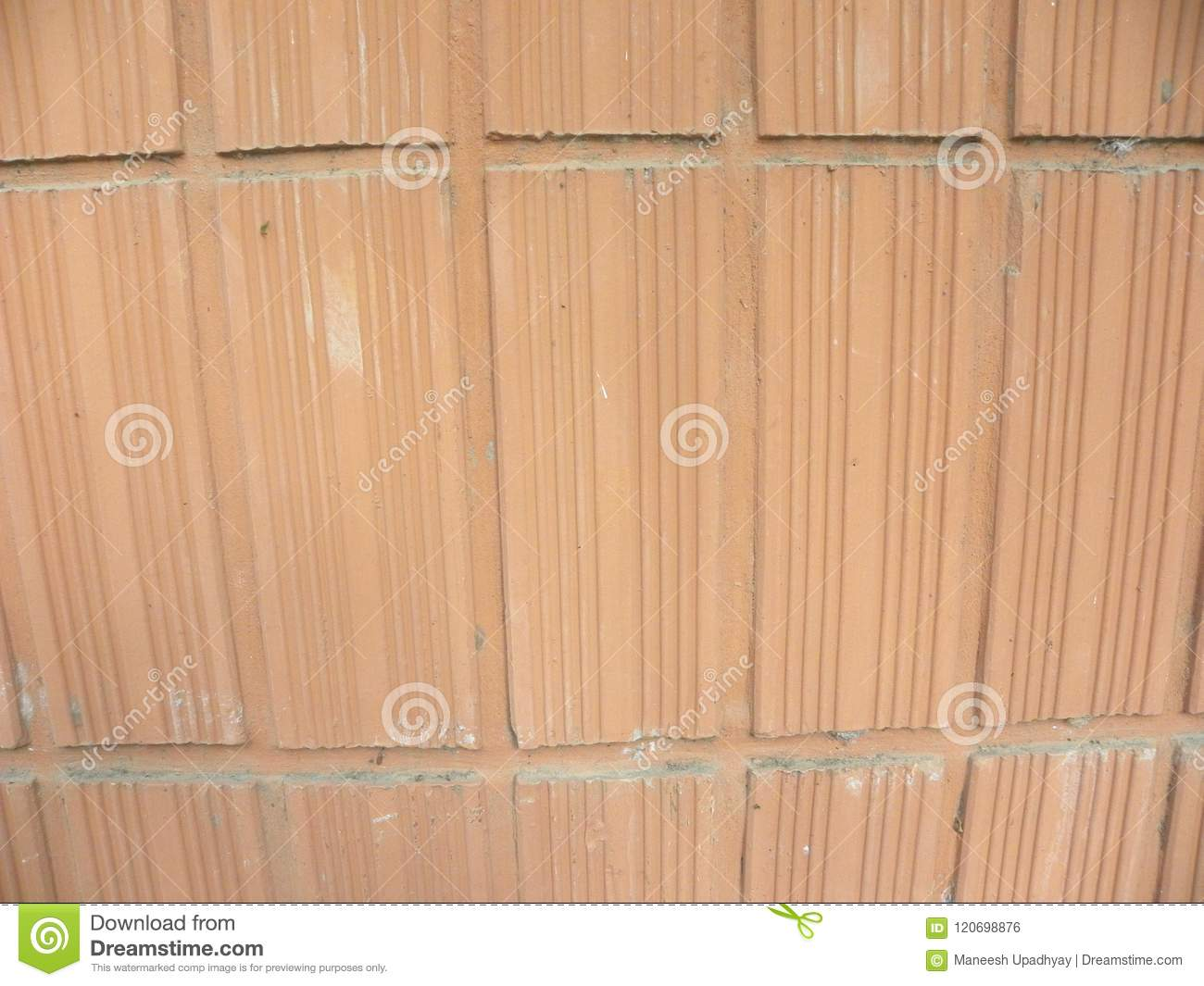Terracotta Wall Background With Vertical Lines Stock Photo - Image ...