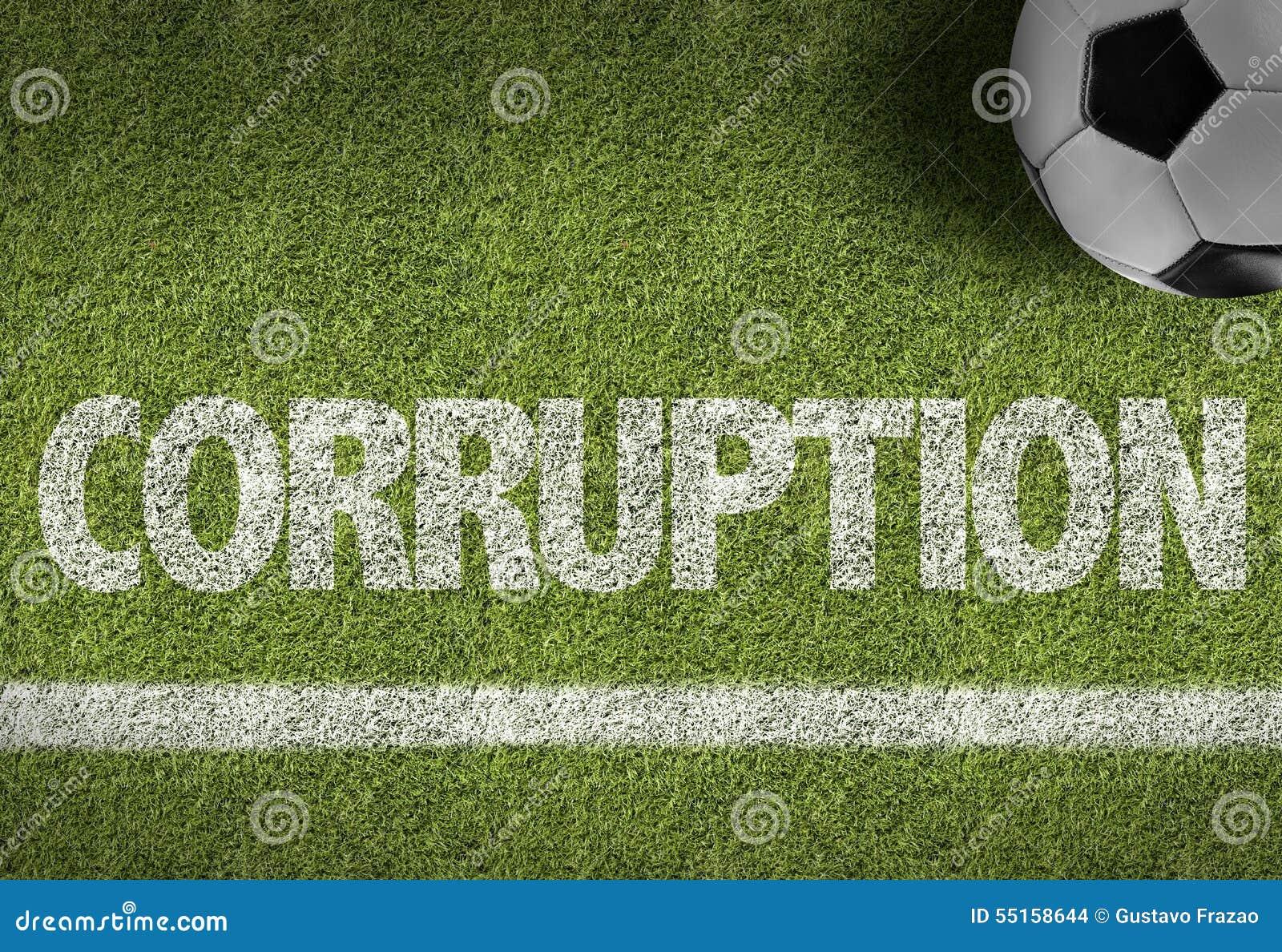 Terrain de football avec le texte : Corruption