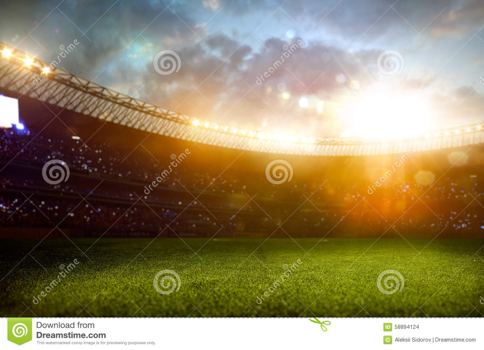 Terrain de football d arène de stade de soirée