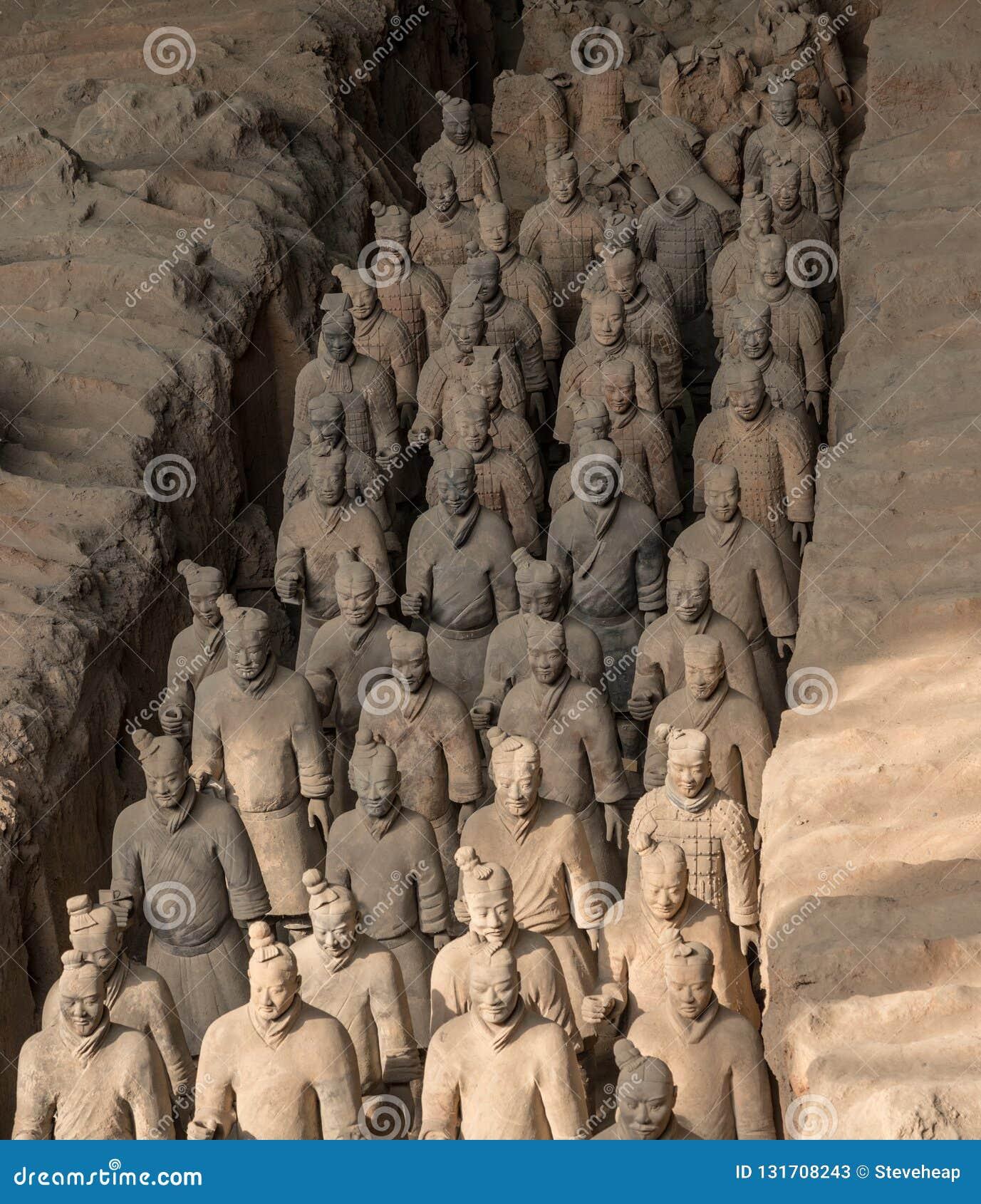 Terrakottaarmékrigare som begravas i kejsaregravvalv utanför Xian China