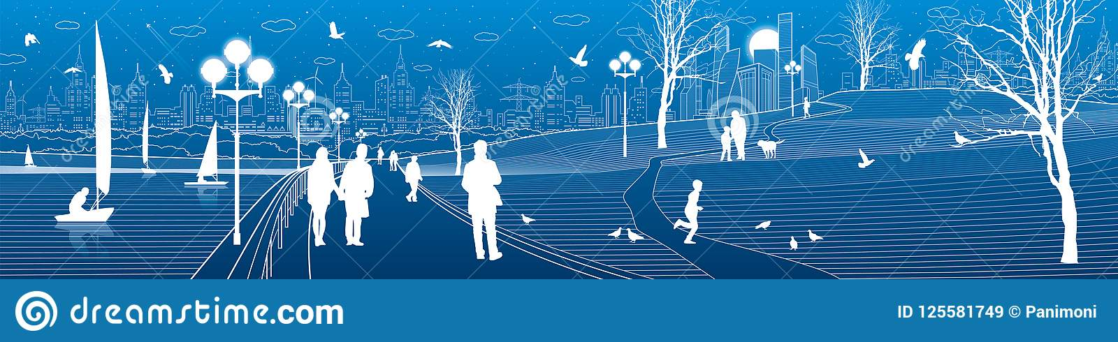 Terraplén de la ciudad Paseo de la gente a lo largo de la acera Igualación del parque iluminado Los niños están jugando los pájar