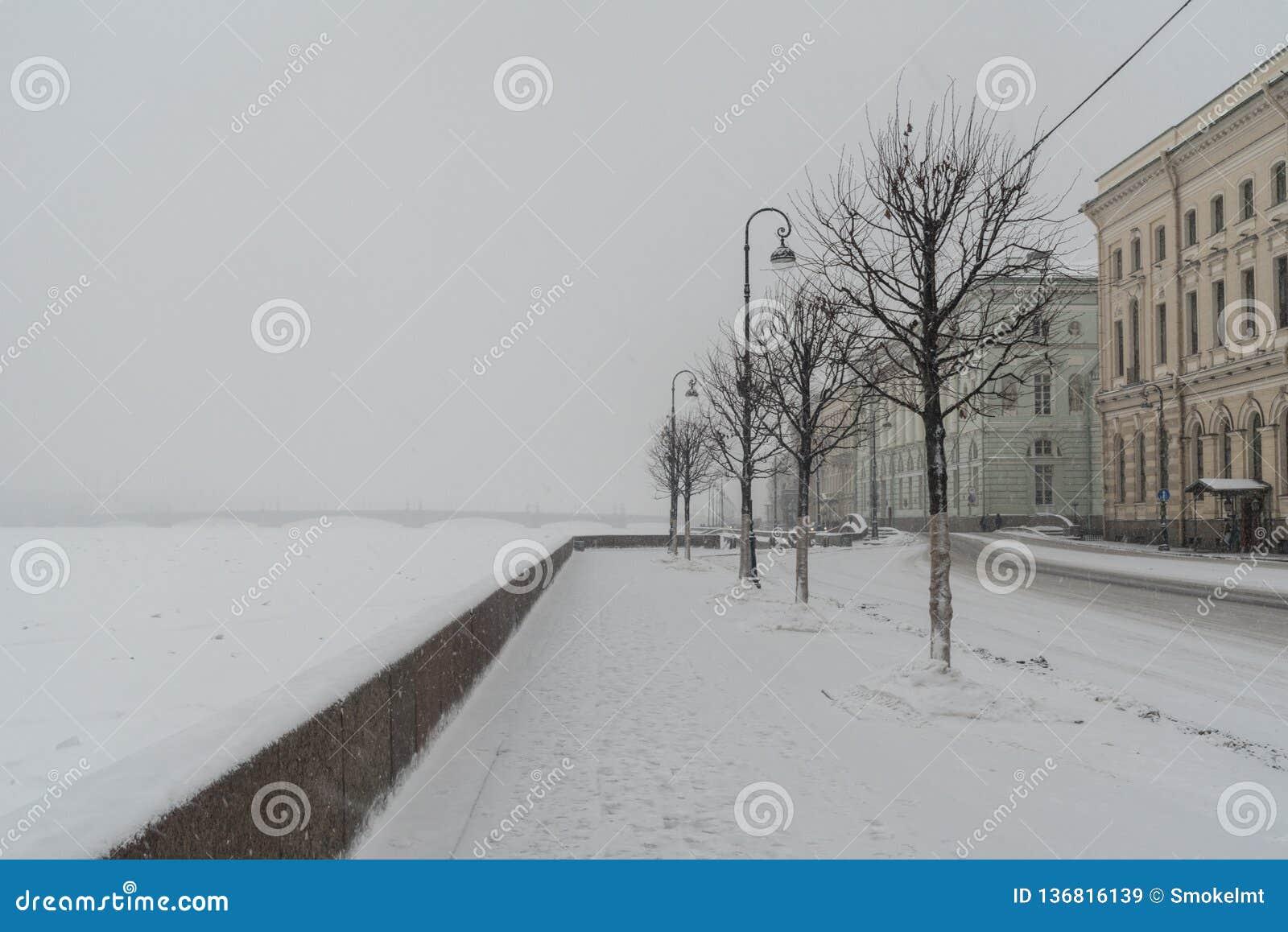 Terraplén del palacio y puente de la ermita en nevadas Invierno en St Petersburg