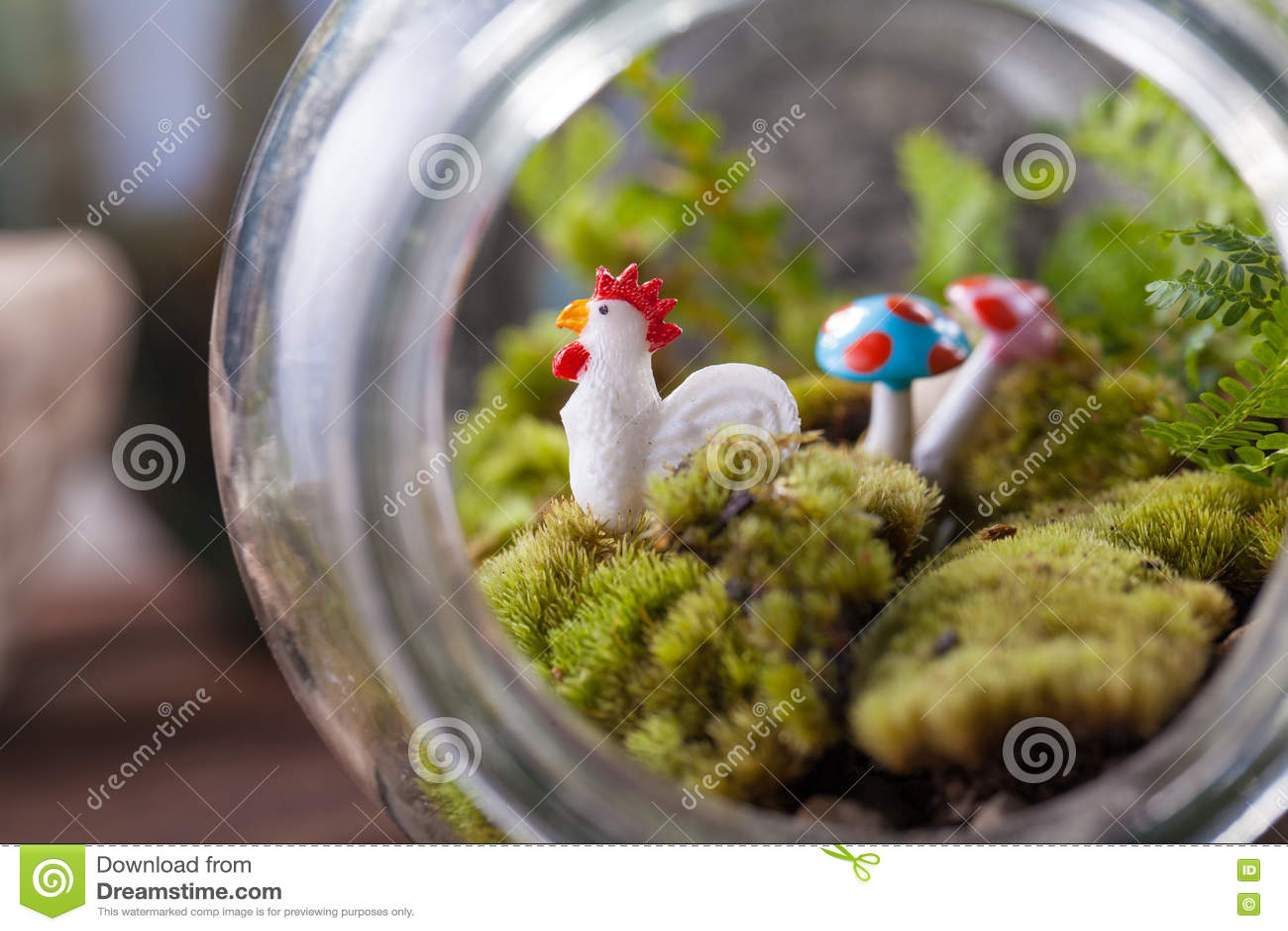A Terrarium Bottle Stock Image Image Of Garden Flamingo 80872269