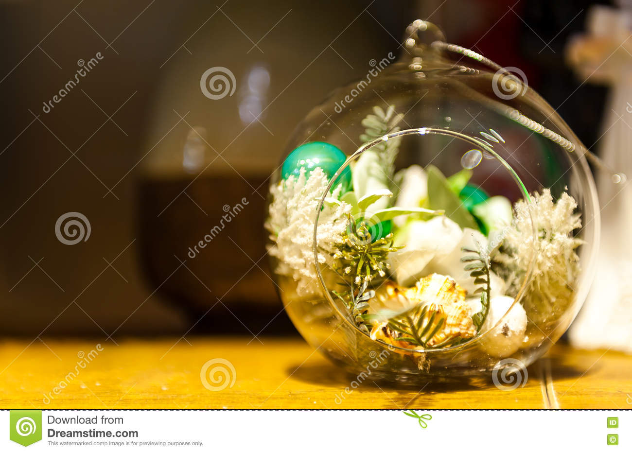 Terrarium With Succulent Plants On Wooden Table Stock Image Image Of Decoration Green 81677767