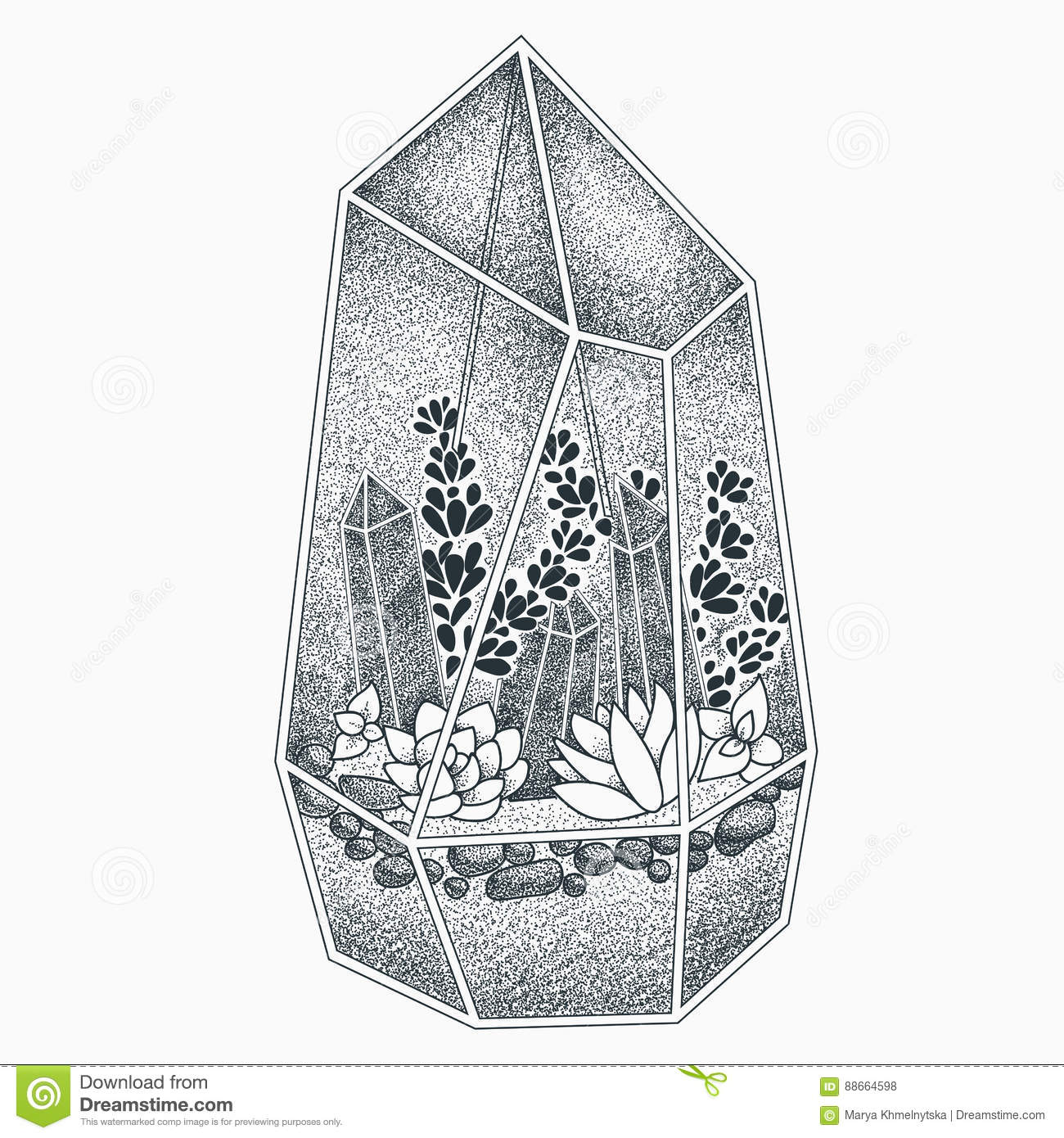Terrarium Tattoo Design Stock Vector Illustration Of Element 88664598