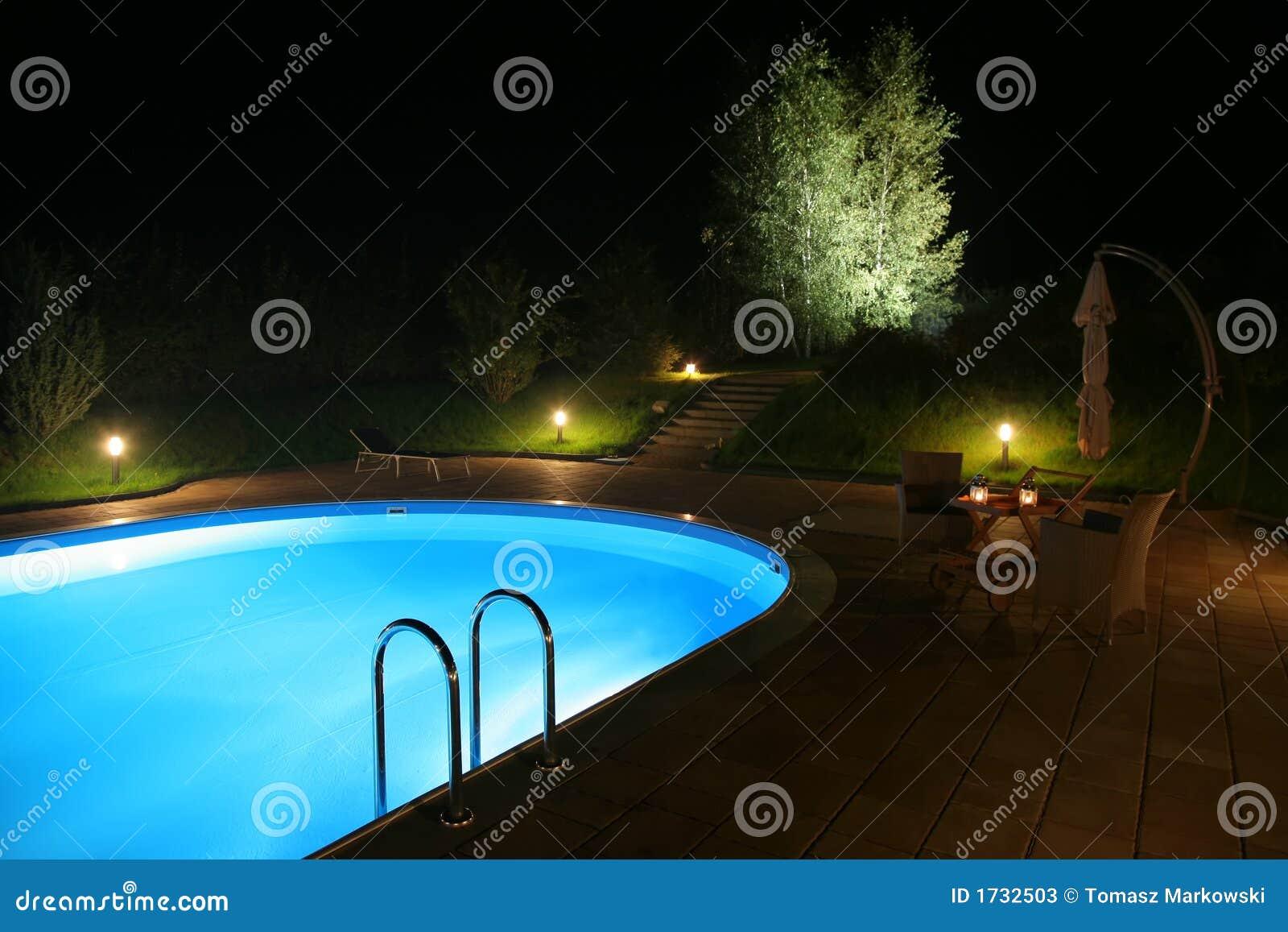 Terras en pool door night stock afbeelding afbeelding