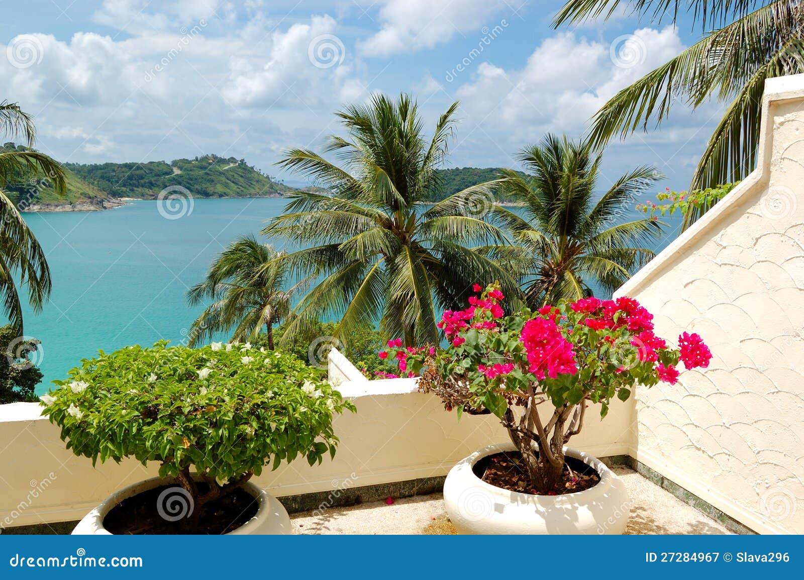 Terrass med havssikt på det lyxiga hotellet