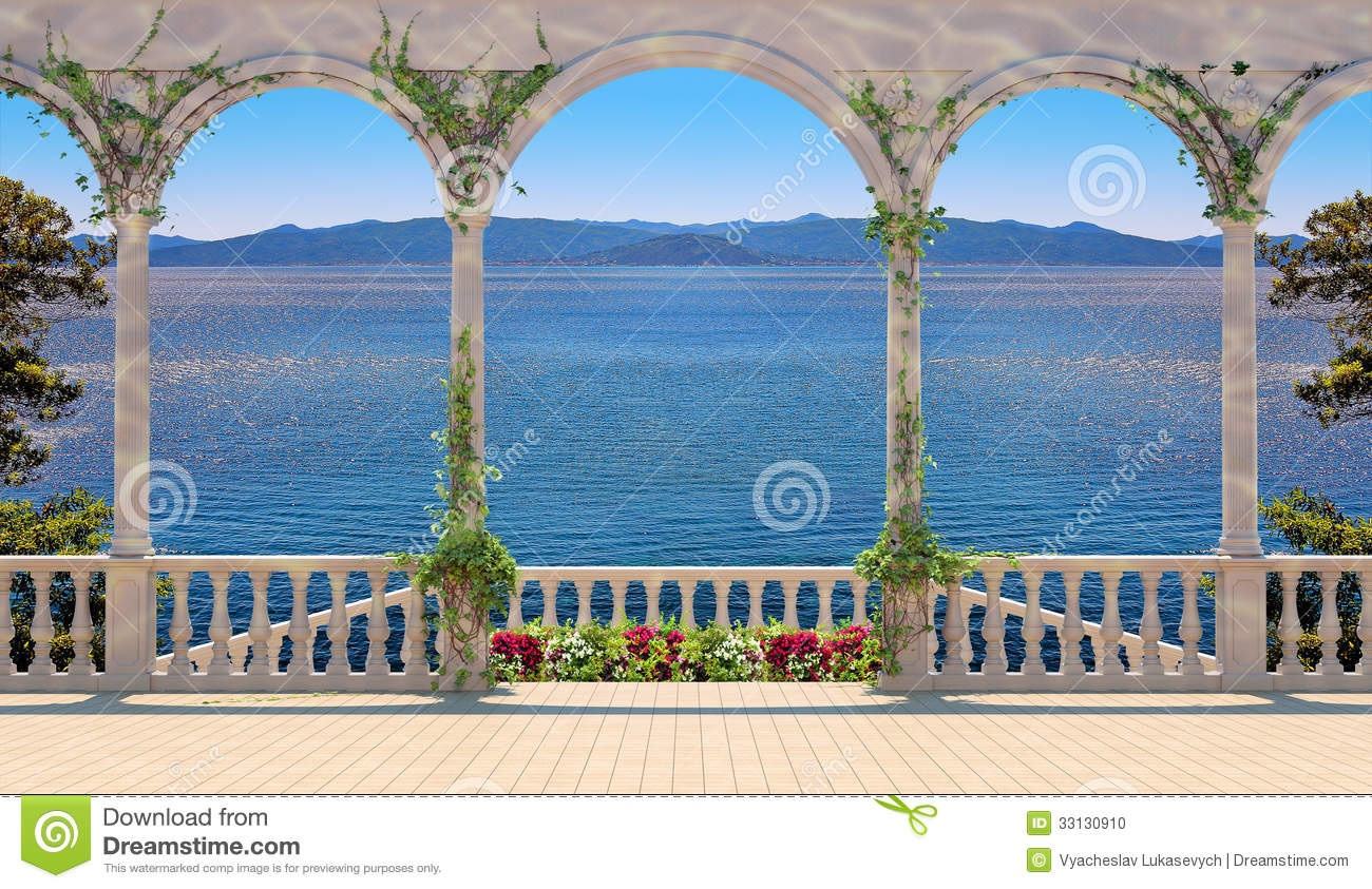 terrasse avec la balustrade donnant sur la mer et les montagnes photo stock image 33130910. Black Bedroom Furniture Sets. Home Design Ideas