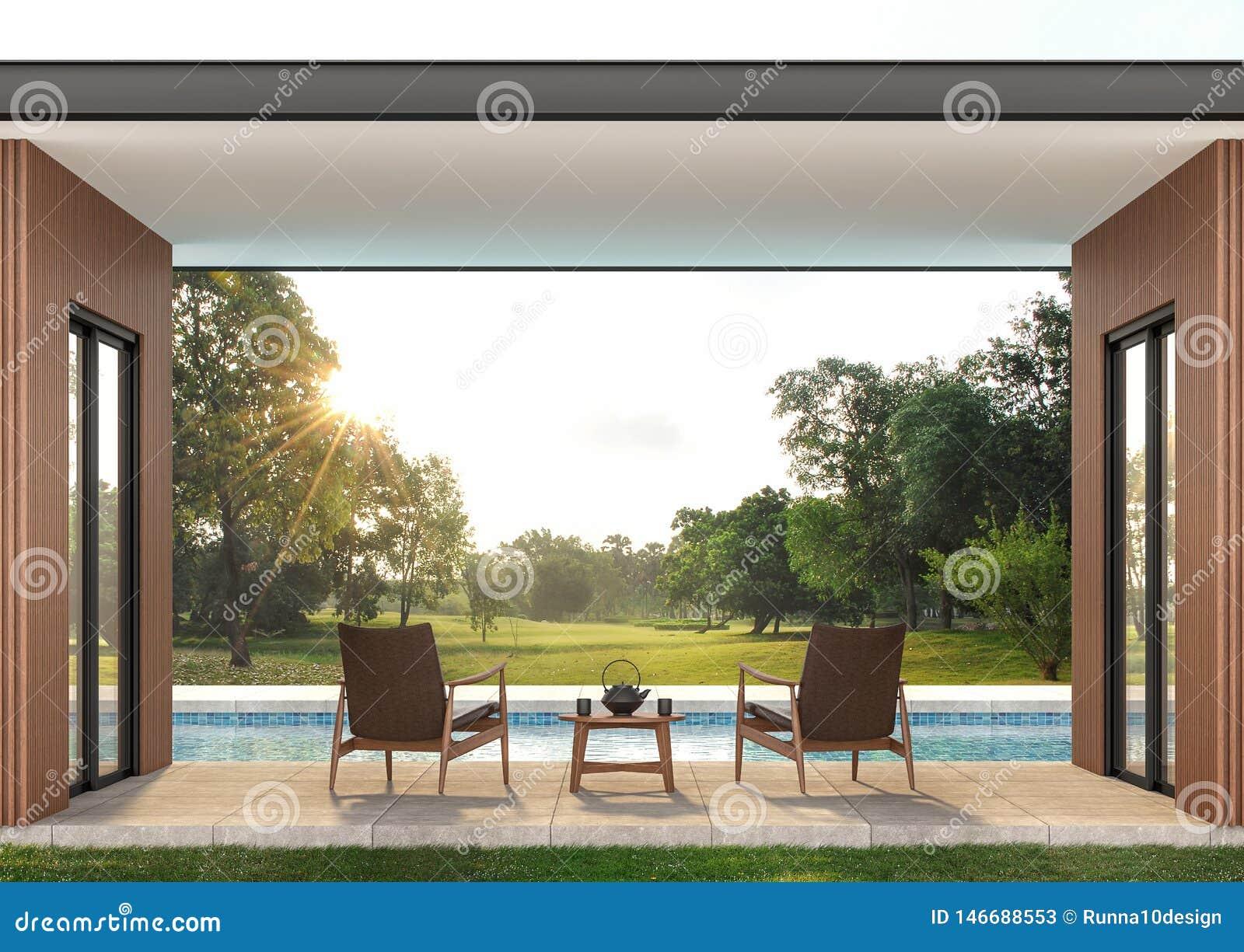 Terrasse Contemporaine Moderne 3d De Piscine Rendre
