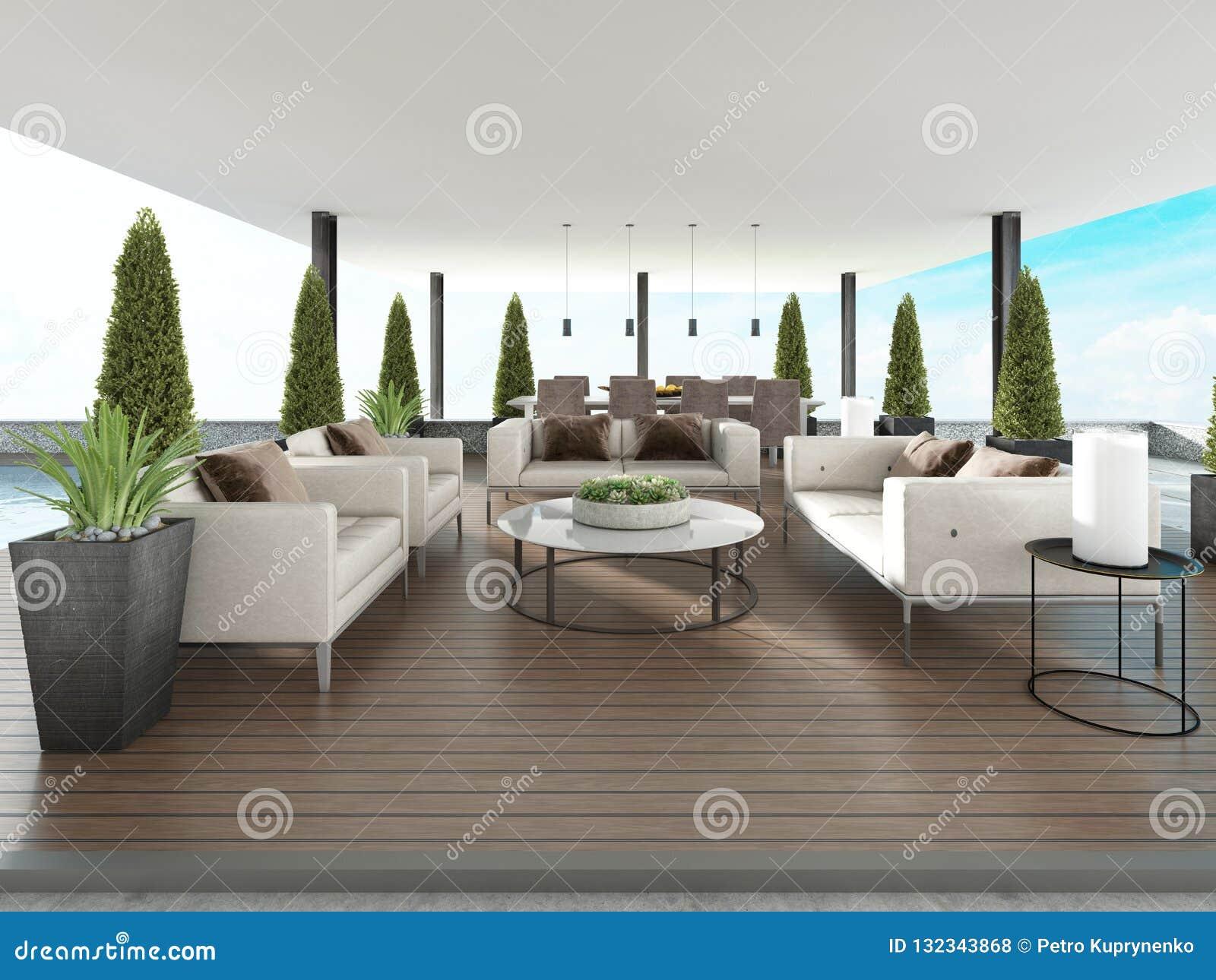 Terrasse Couverte Avec Les Meubles Et Les Pots De Fleurs ...