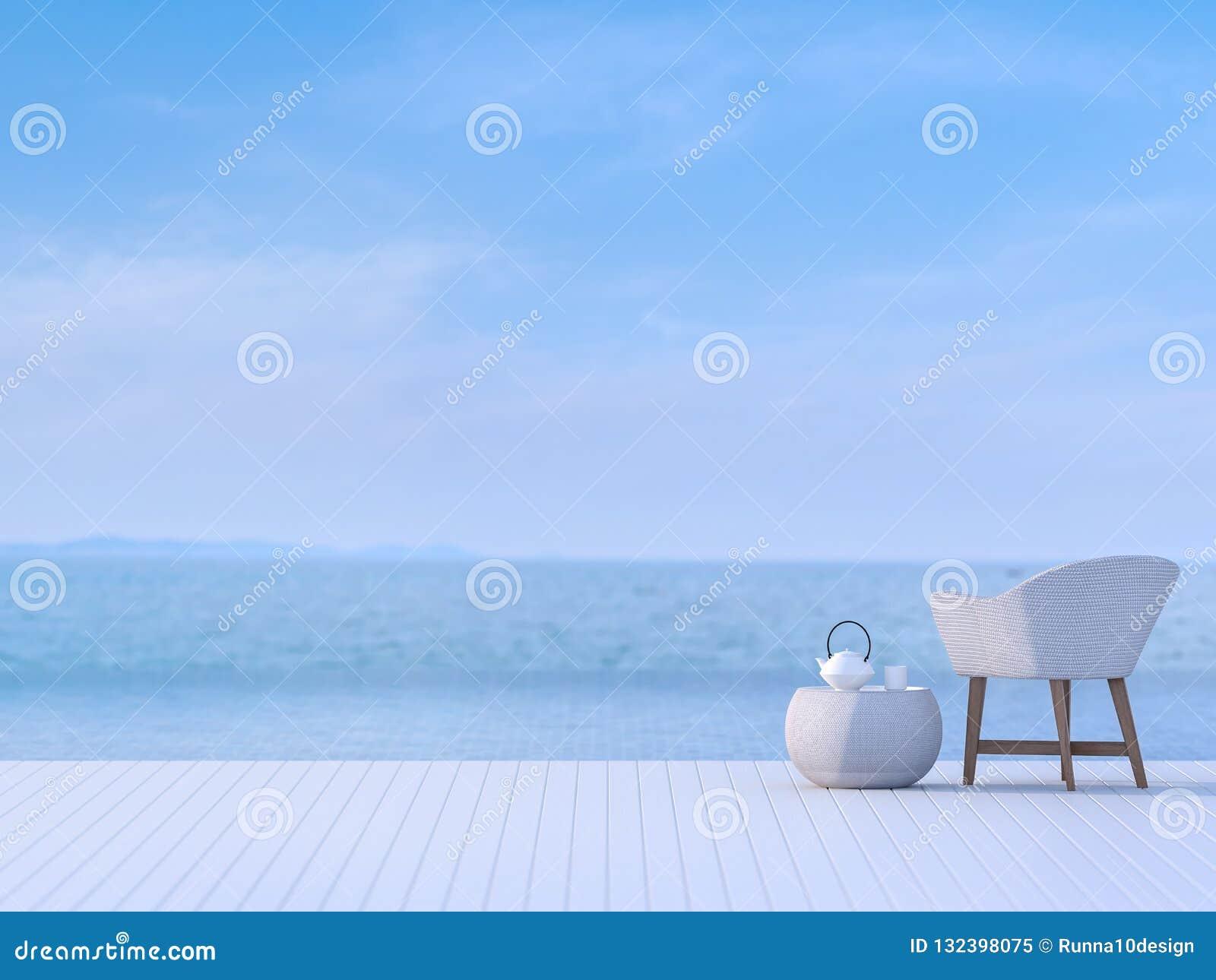 Terrasse De Piscine Avec Le Fond Trouble 3d De Vue De Mer