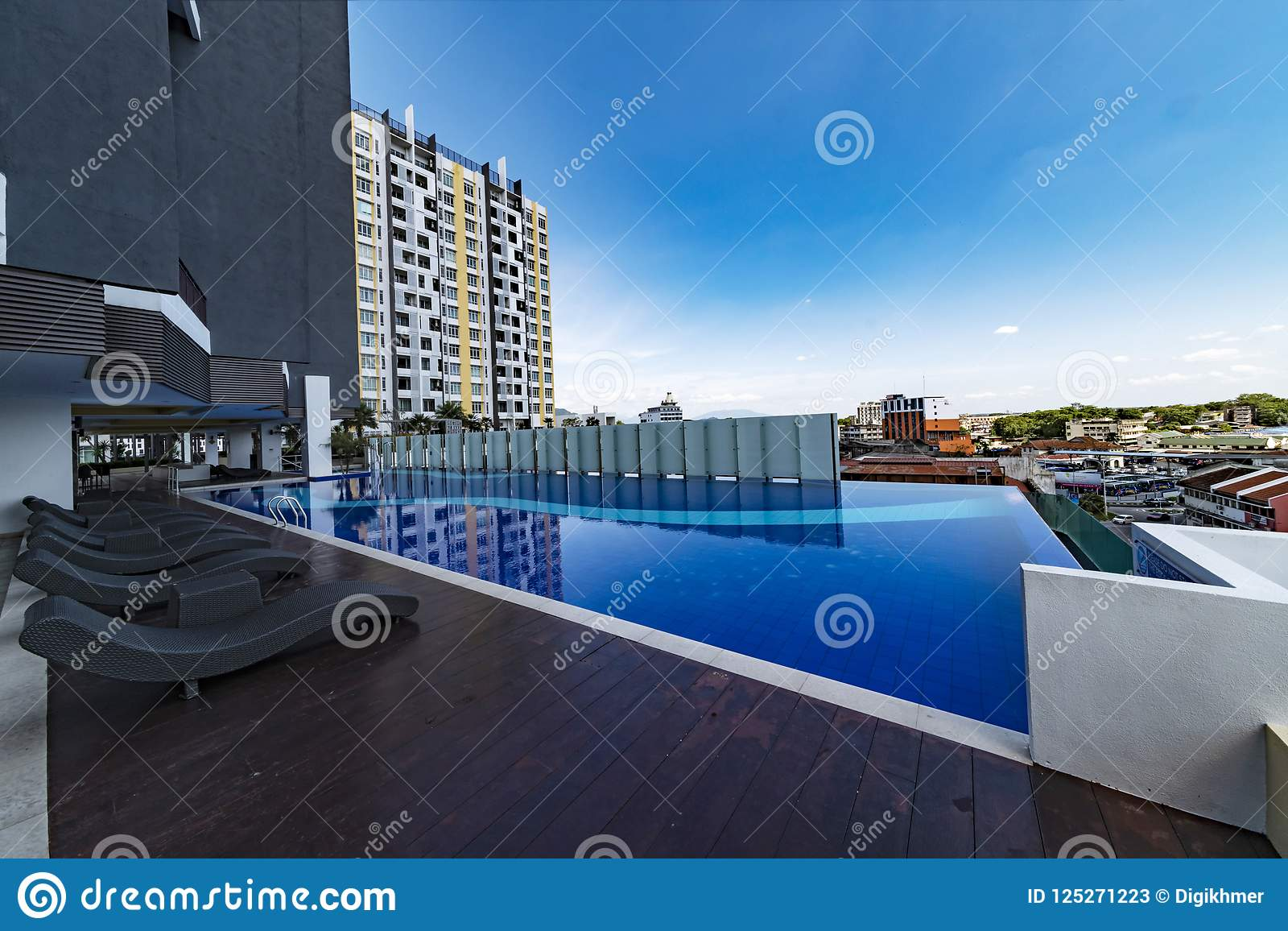 Terrasse And Swimming Pool Of Malaysian Condominium Stock Image