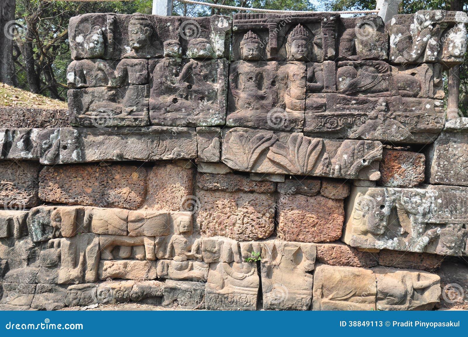 Terrasse Von Aussätzig König In Angkor Thom Tempel In Siem Reap,  Kambodscha. Angkor Thom War Das Letzte Und Die Meiste Aushaltene Hauptstadt  Des ...