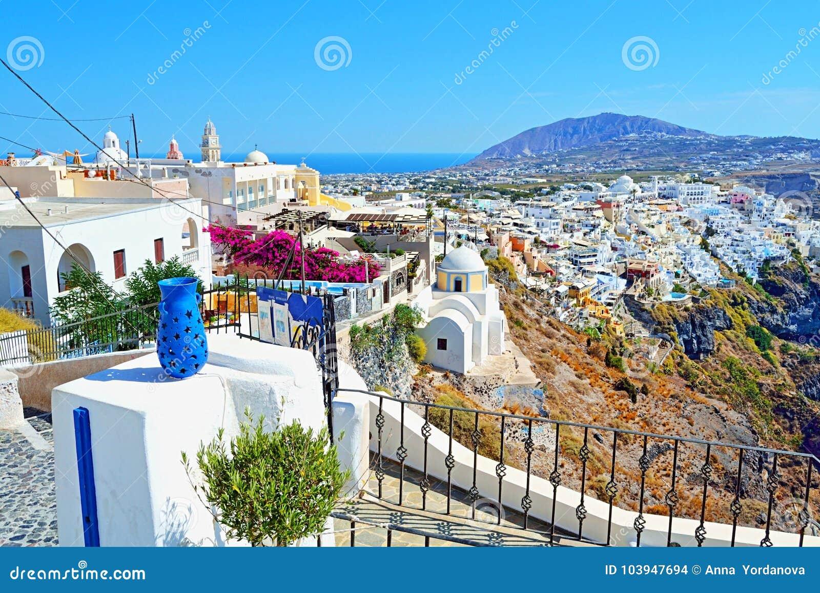 Terraza única Grecia Del Top De Santorini De La Perspectiva