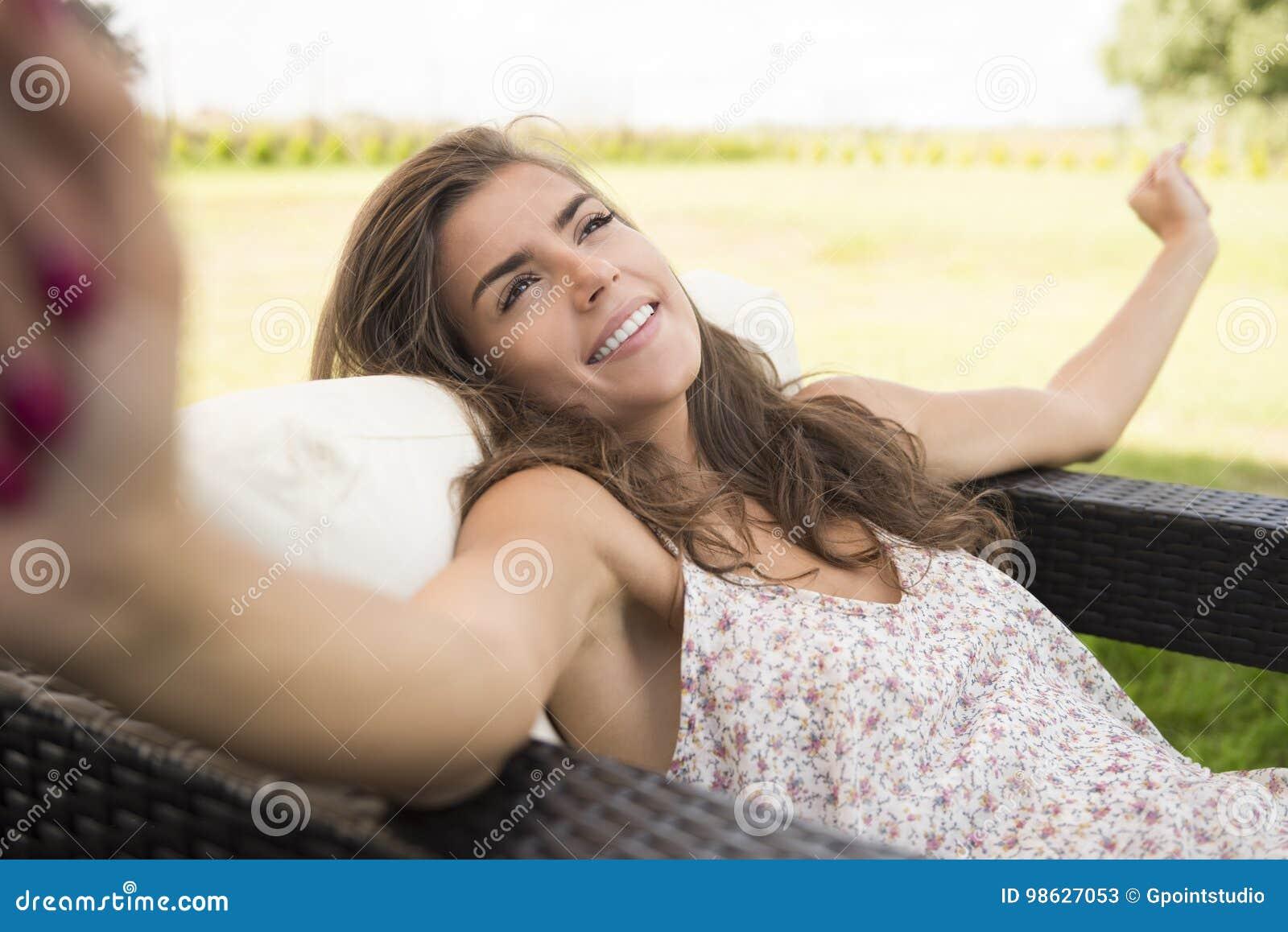 Terraza de la mujer en casa