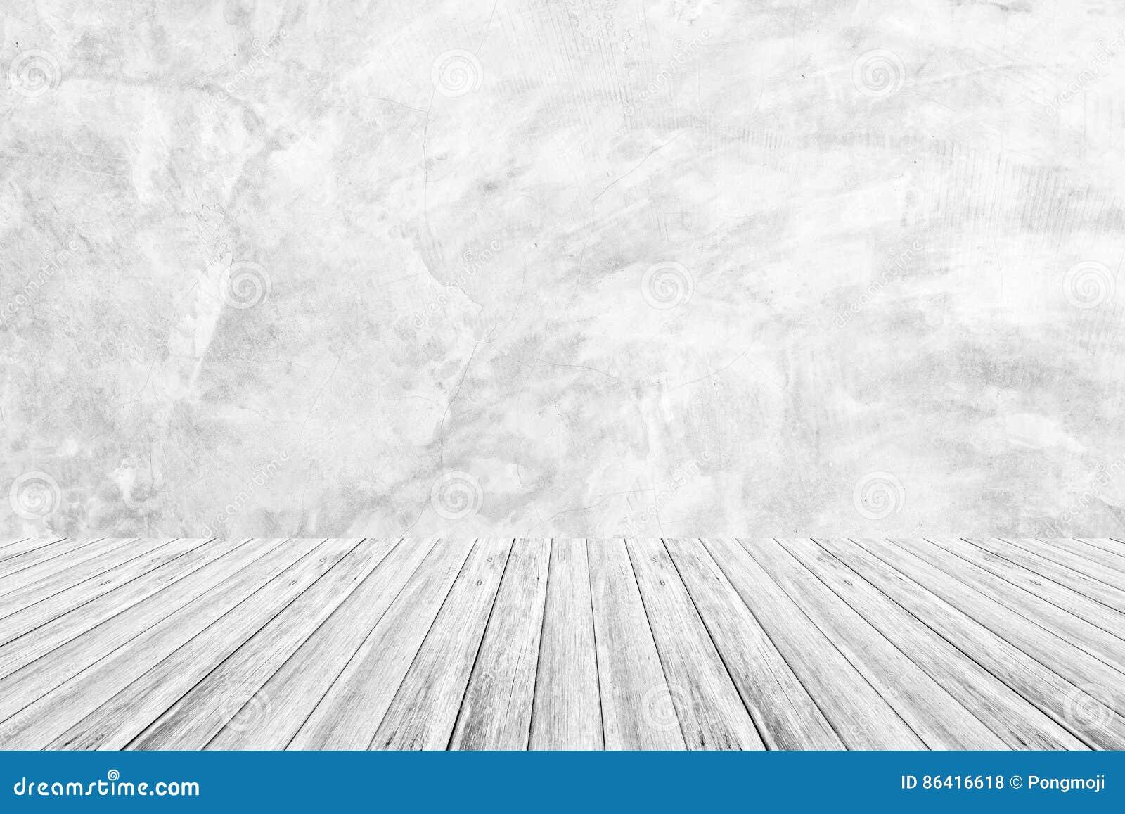 Terraza De Madera Y Textura Desnuda Pulida Del Muro De