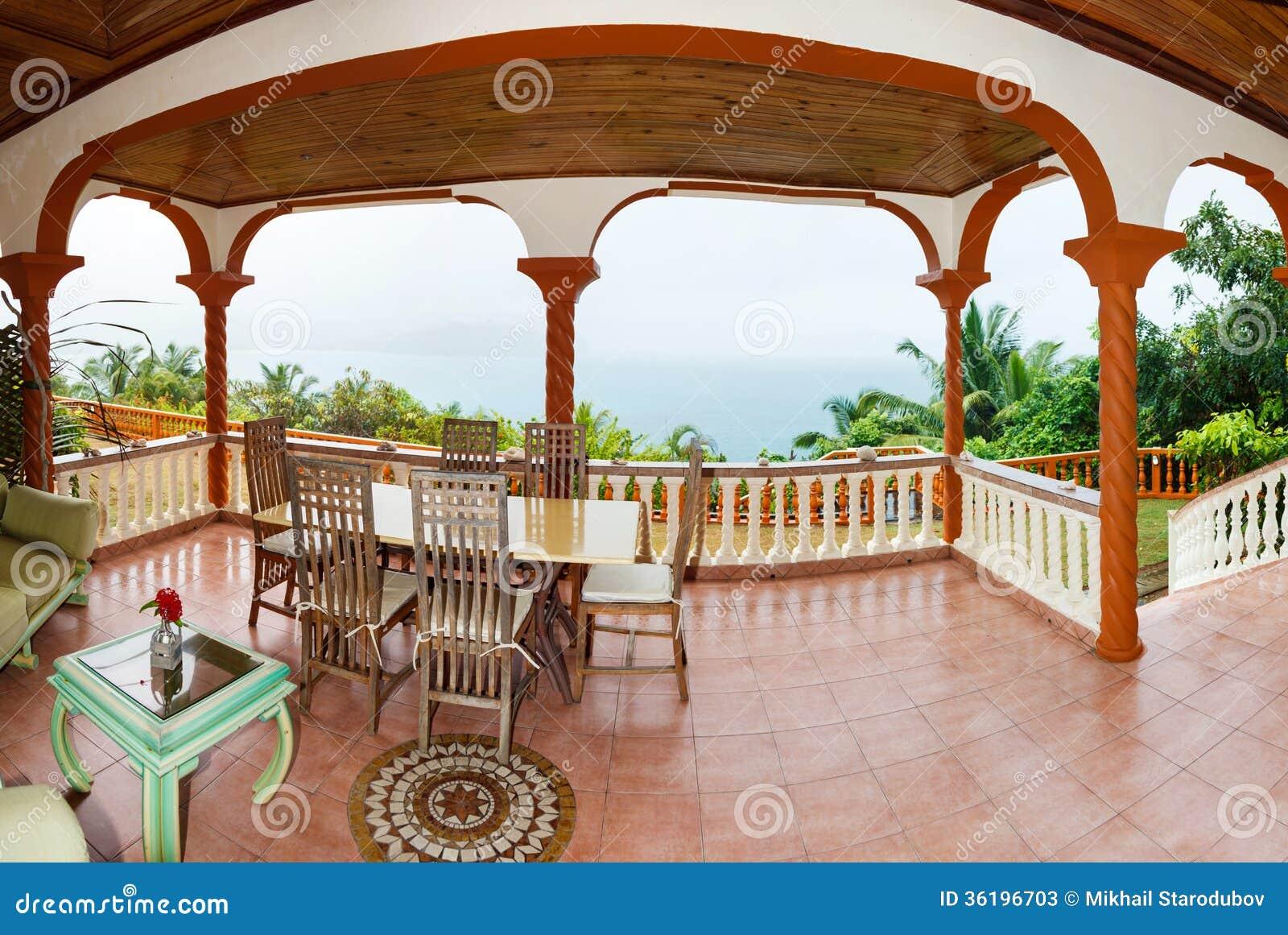 Terraza En El Estilo Colonial Imagen De Archivo Imagen De
