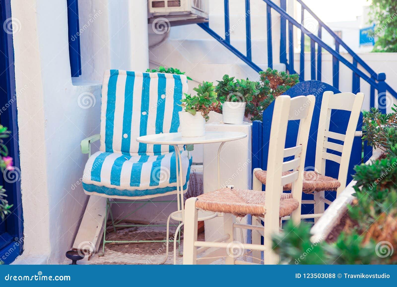 Terraza Hermosa Exterior Con Estilo Cycladic Foto De Archivo