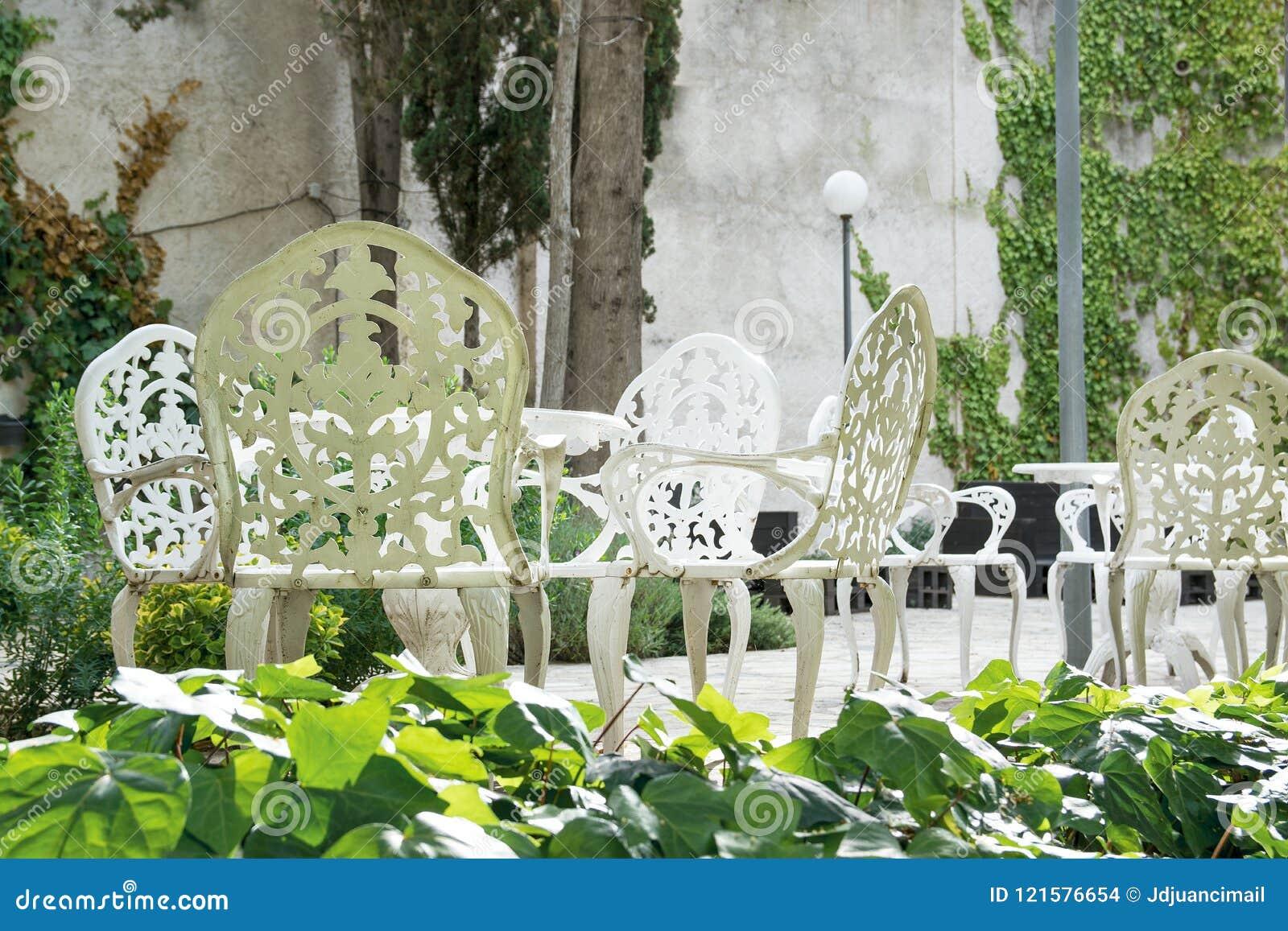 Terraza Y Jardín Exteriores Con La Decoración Clásica Del