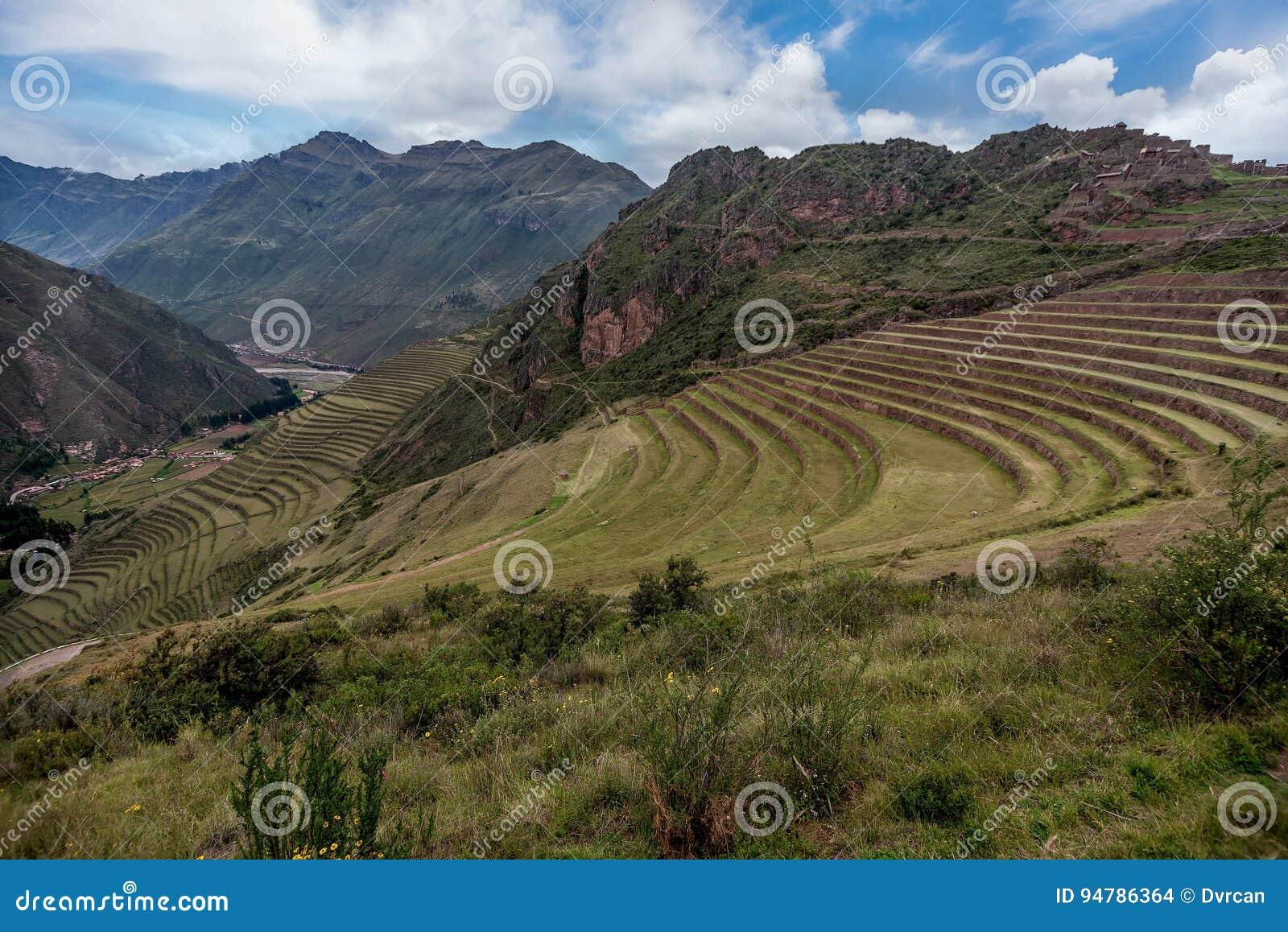 Terrazas Agrícolas De Las Ruinas Del Inca De Pisac Perú