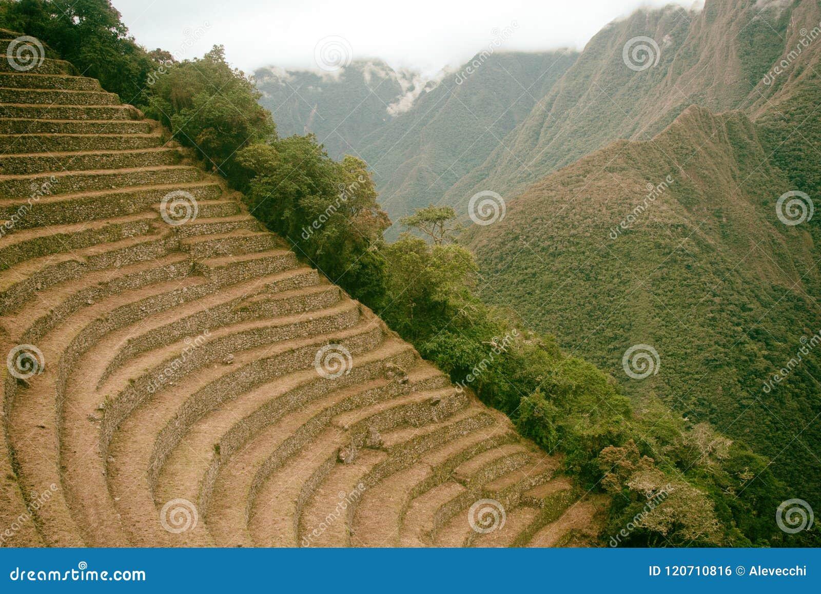 Terrazas Agrícolas De Piedra Del Inca Antiguo Rastro Del