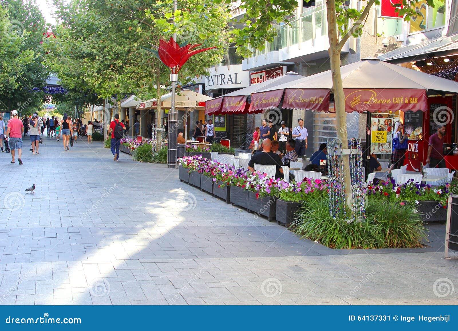 Terrazas Y Tiendas Del Café En Murray Street Perth