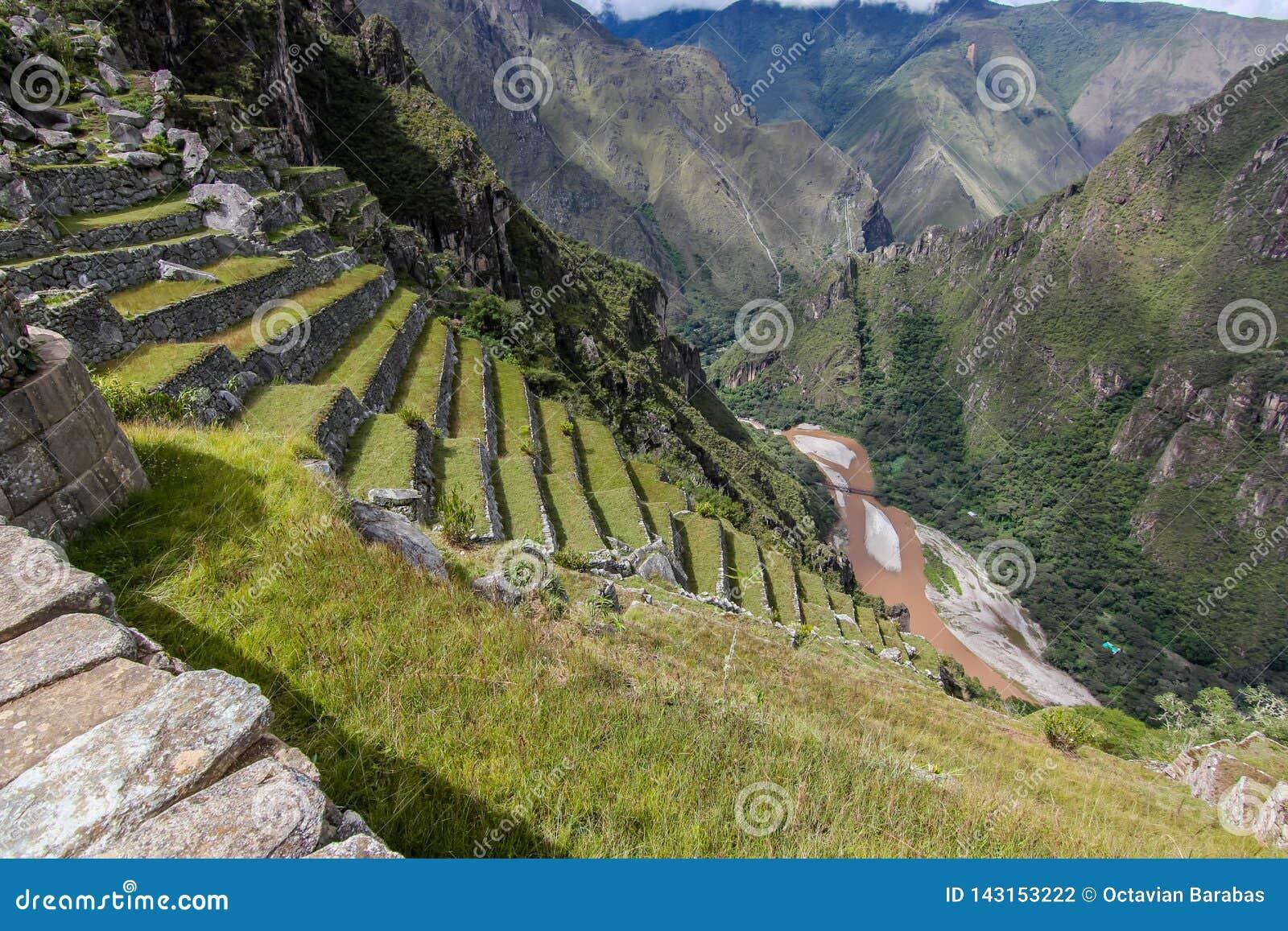 Terrazas y valey del río cerca de Machu Picchu