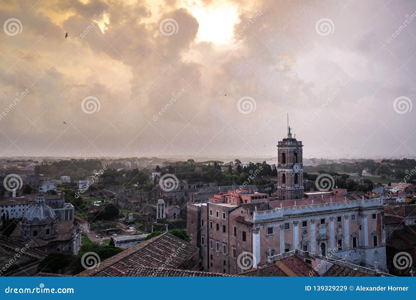 Terrazza Delle Quadrighe History City Rome Empire Stock