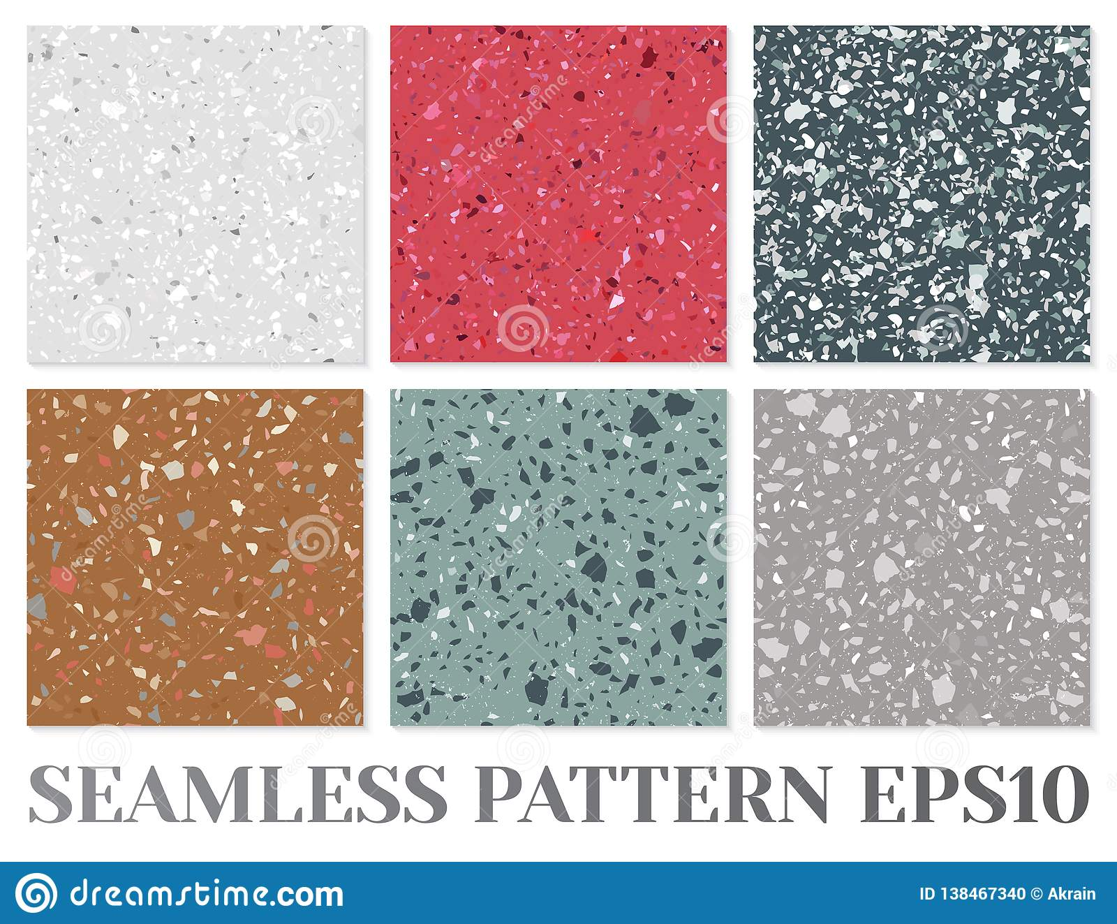 Terrazzo Flooring Vector Seamless Pattern Texture Of