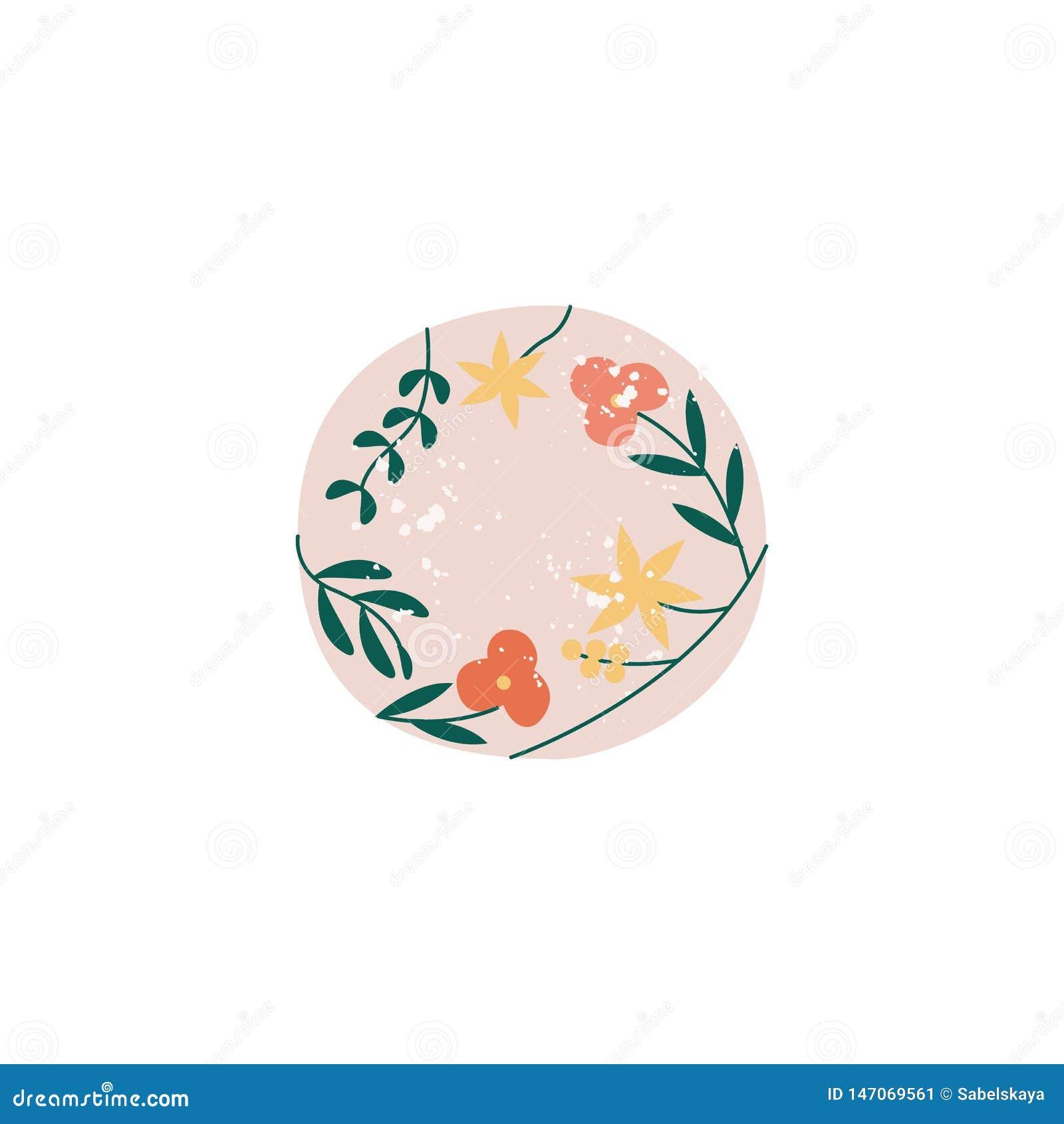 Terrecotte ceramiche con l illustrazione piana di vettore dei fiori isolata su fondo