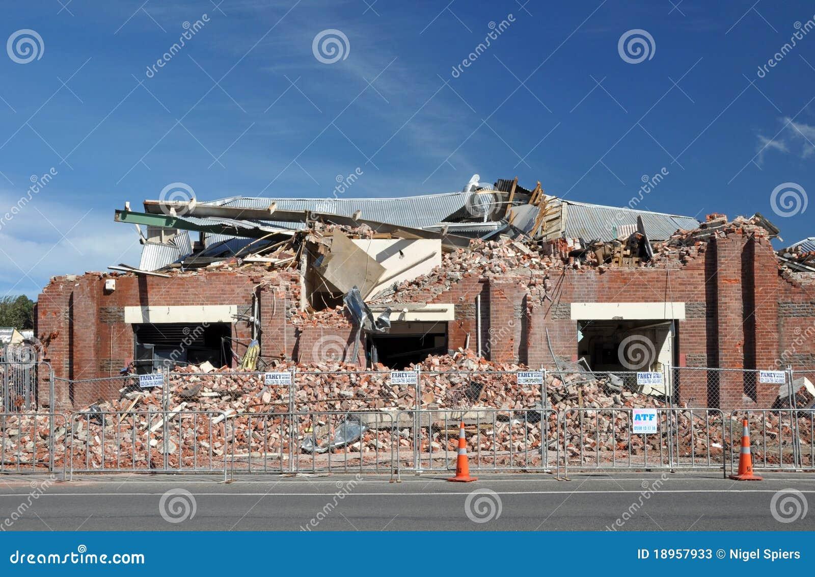 Terremoto de Christchurch - fábrica do tijolo destruída