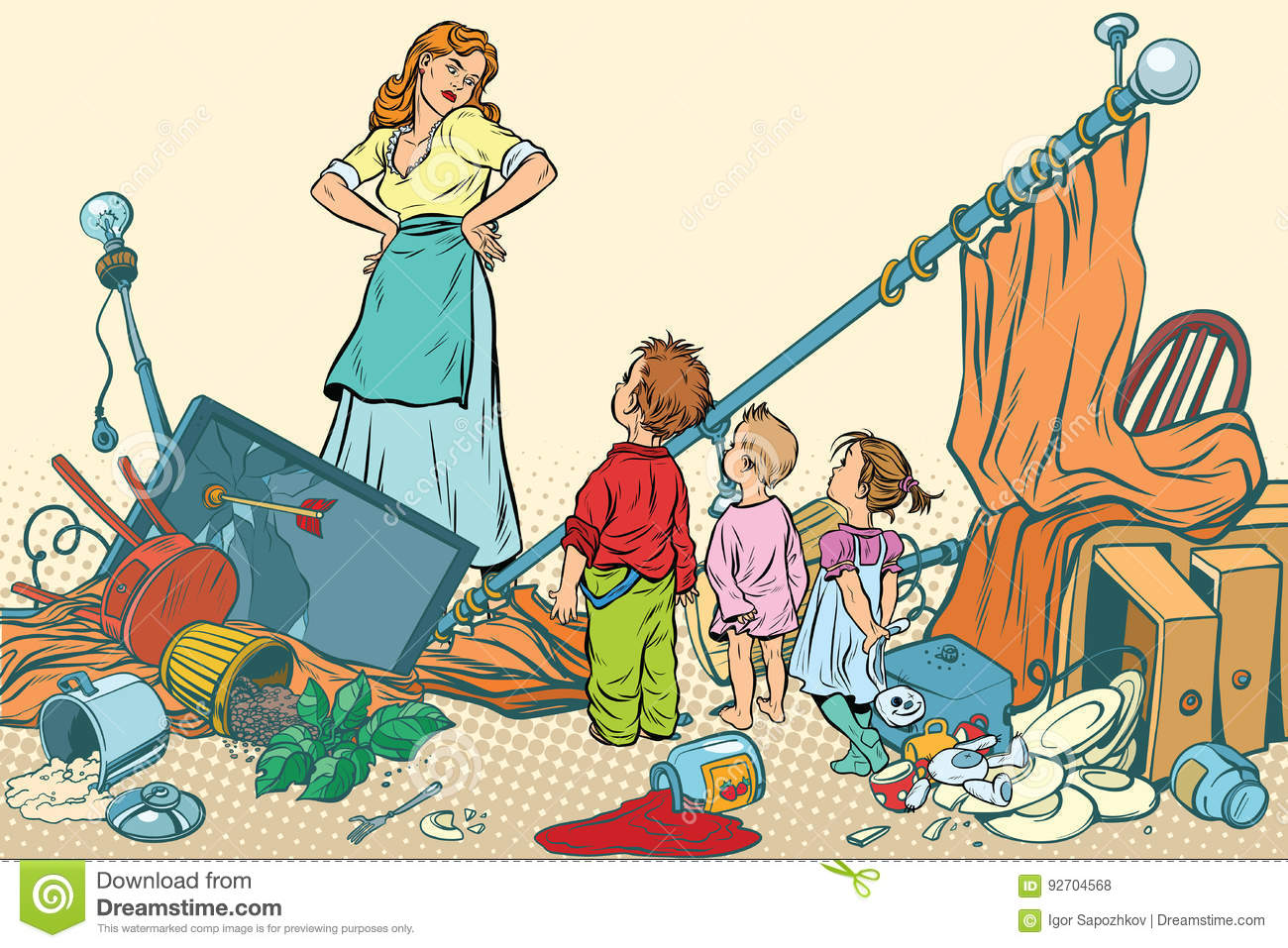 terrible mother and the kids made a mess at home stock vector