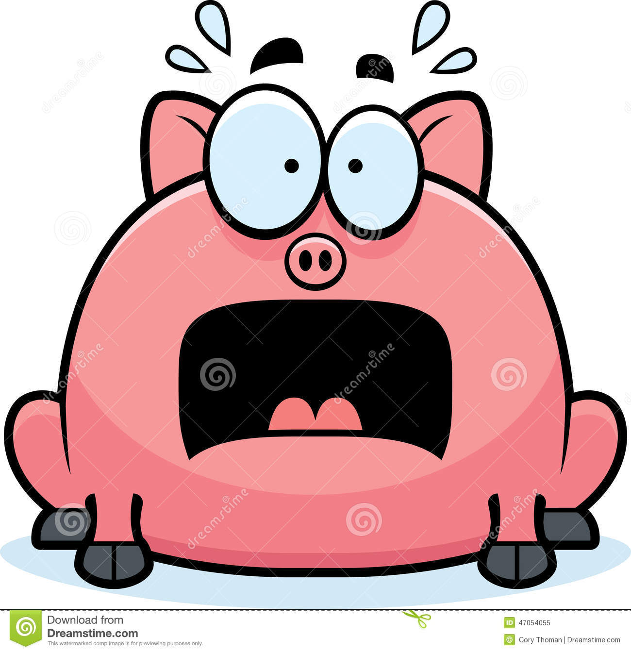 Terrified Little Pig stock vector. Illustration of afraid - 47054055