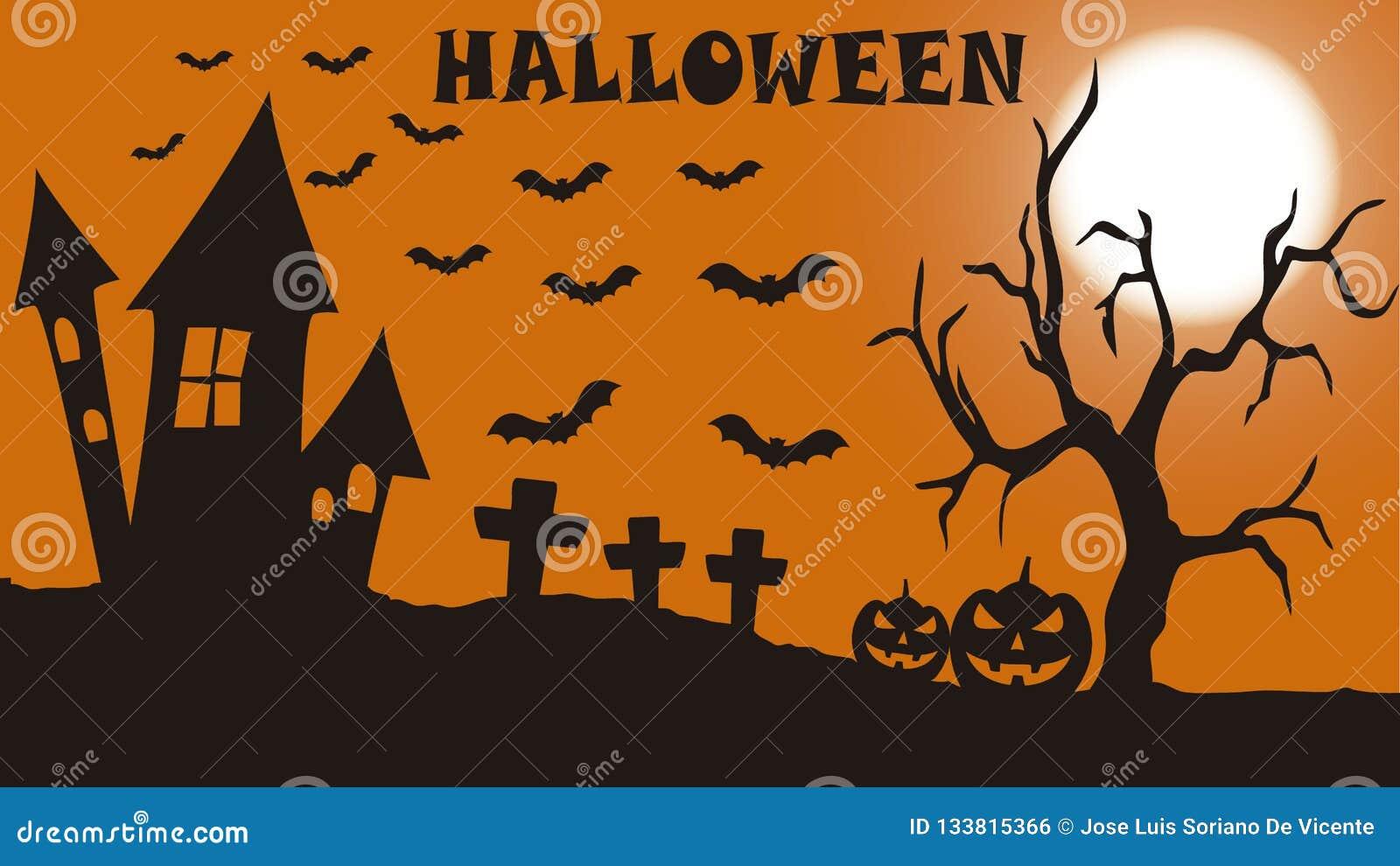Terrifying cemetery for Halloween night